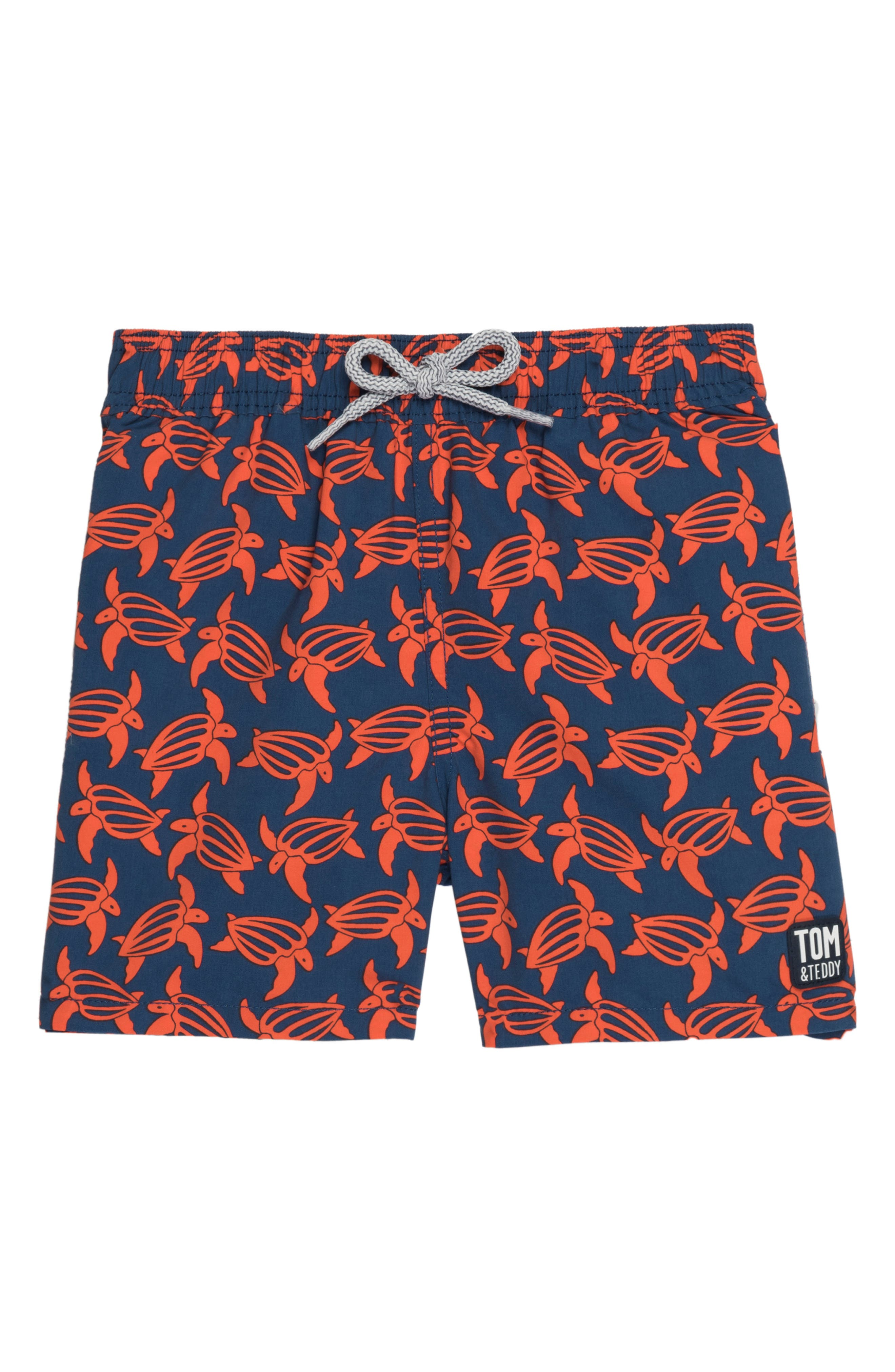 Turtle Swim Trunks,                             Main thumbnail 1, color,                             NAVY/ ORANGE