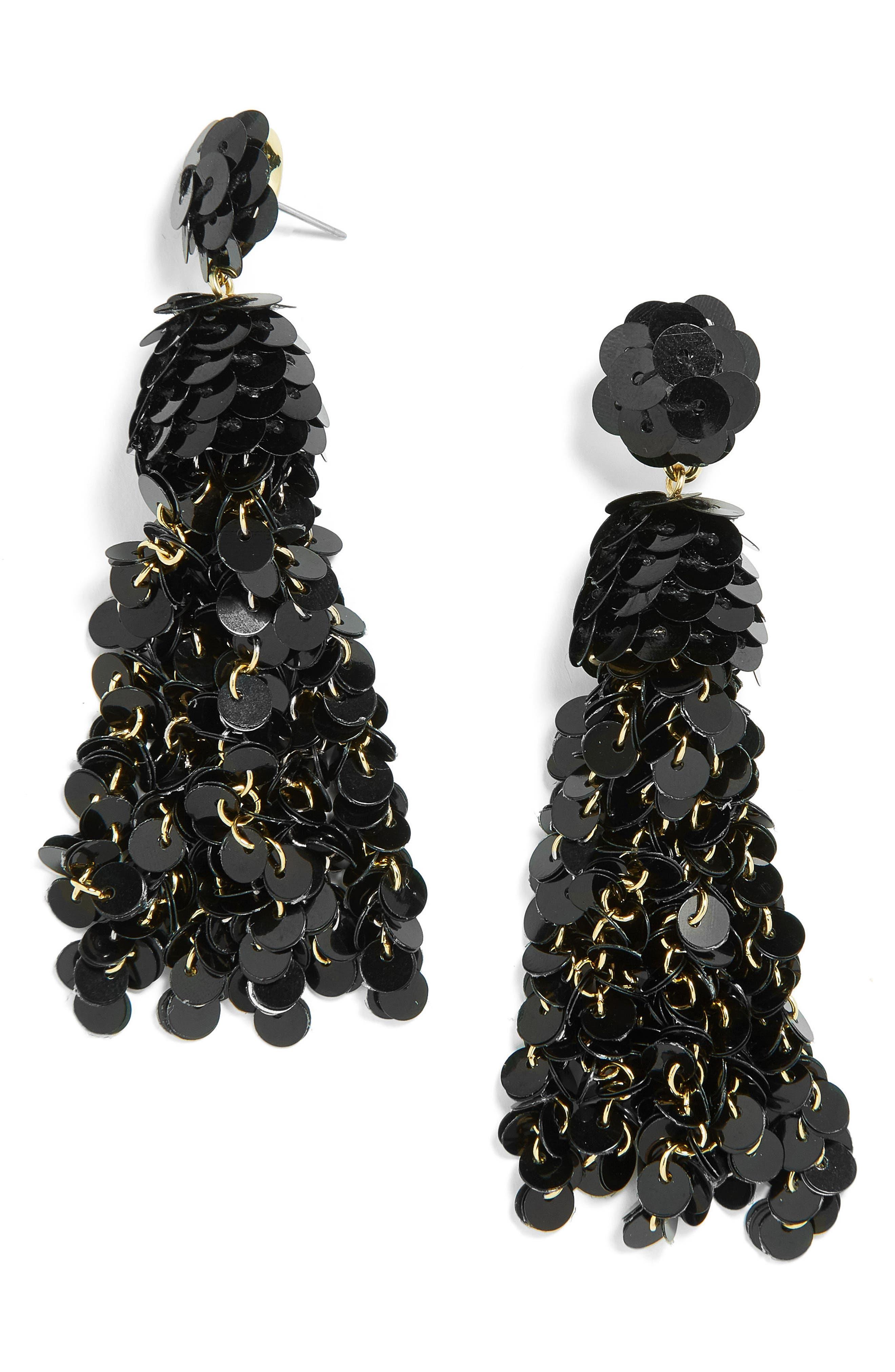 Sequin Pinata Tassel Earrings,                             Main thumbnail 1, color,                             001
