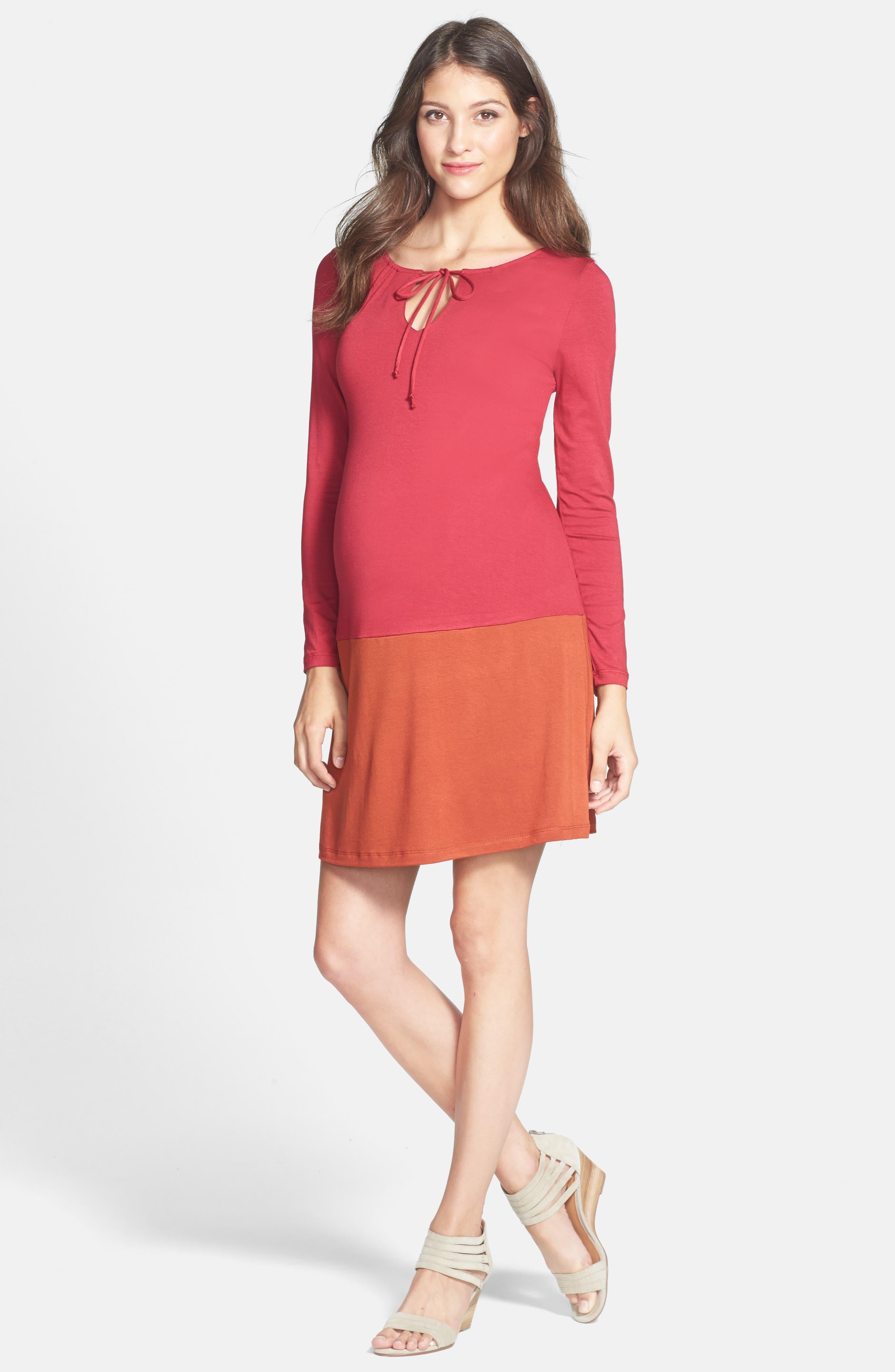Keyhole Maternity Dress,                             Alternate thumbnail 3, color,                             BURGUNDY/ RUST