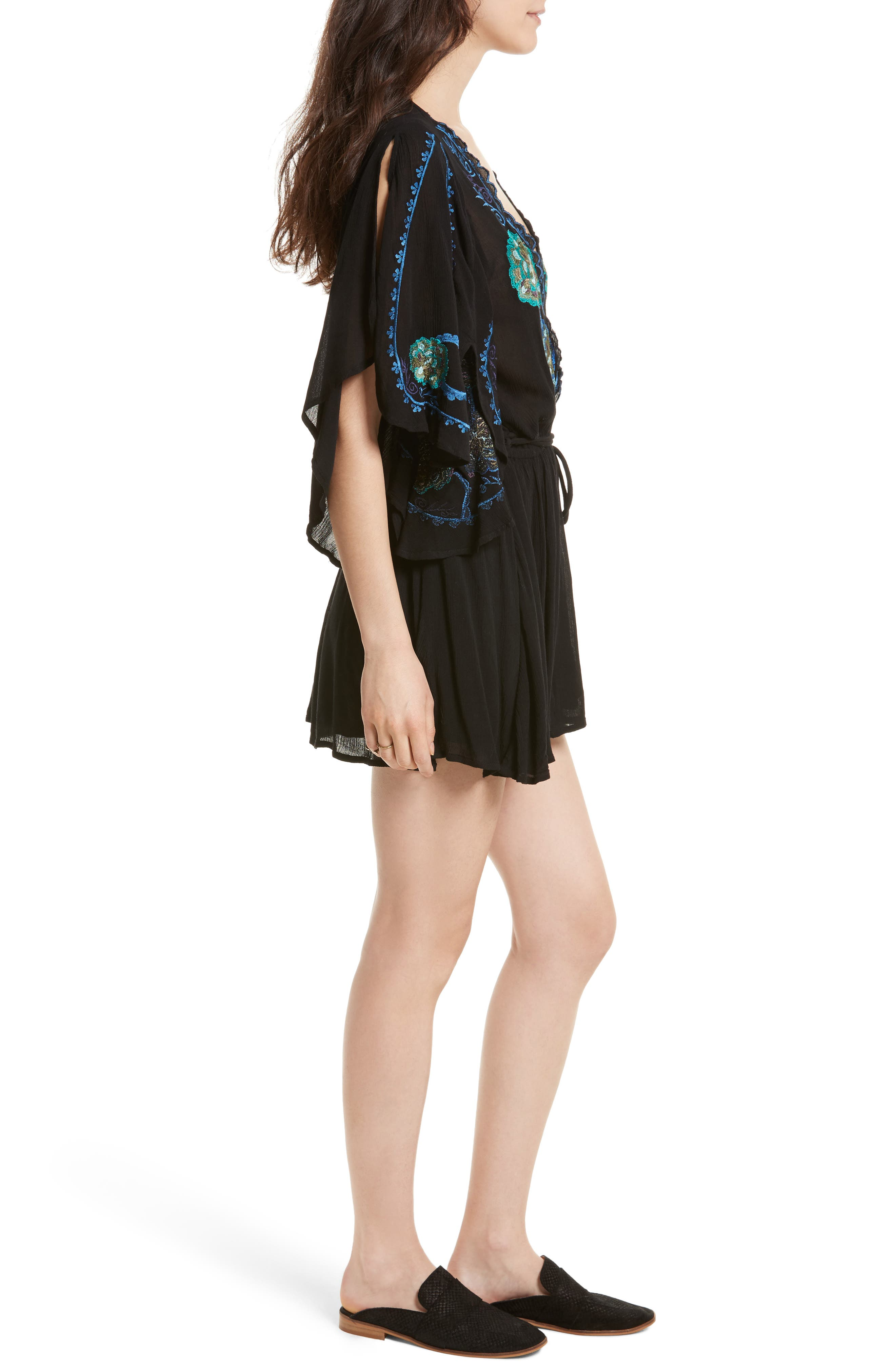 Cora Embroidered Minidress,                             Alternate thumbnail 3, color,                             001