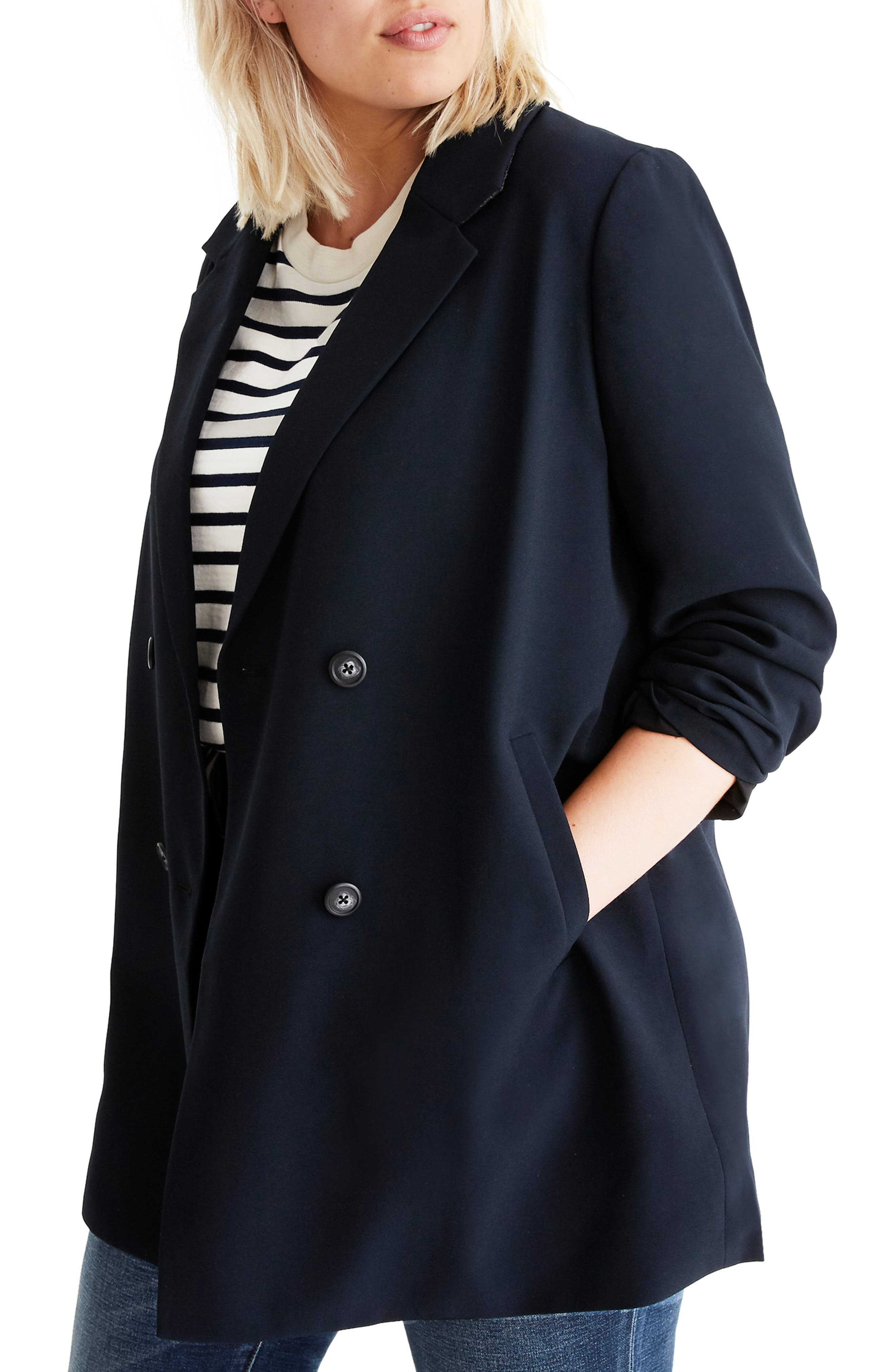 Caldwell Double Breasted Blazer,                             Alternate thumbnail 2, color,                             TRUE BLACK