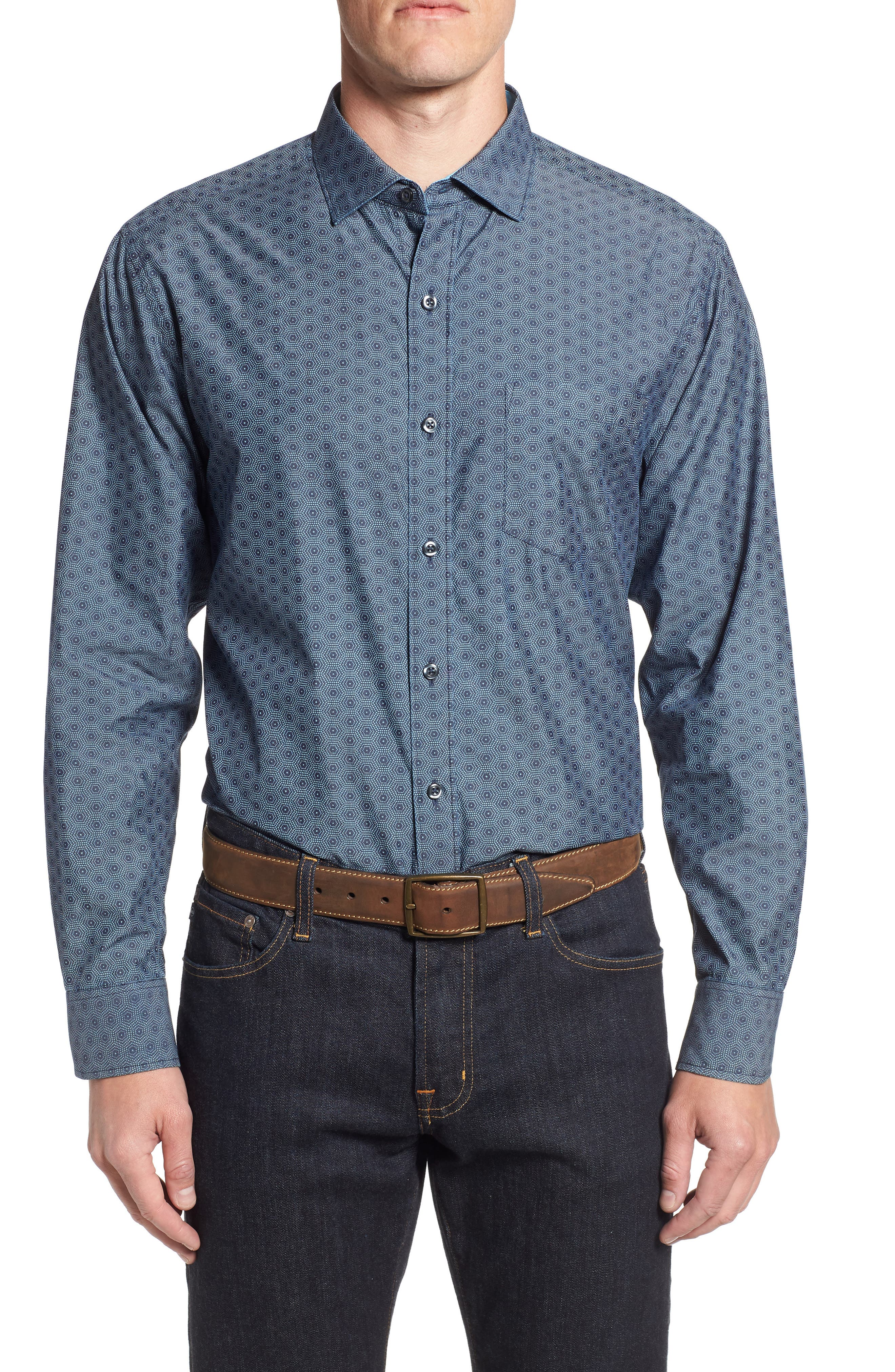 Rio del Geo Sport Shirt,                         Main,                         color, OCEAN DEEP