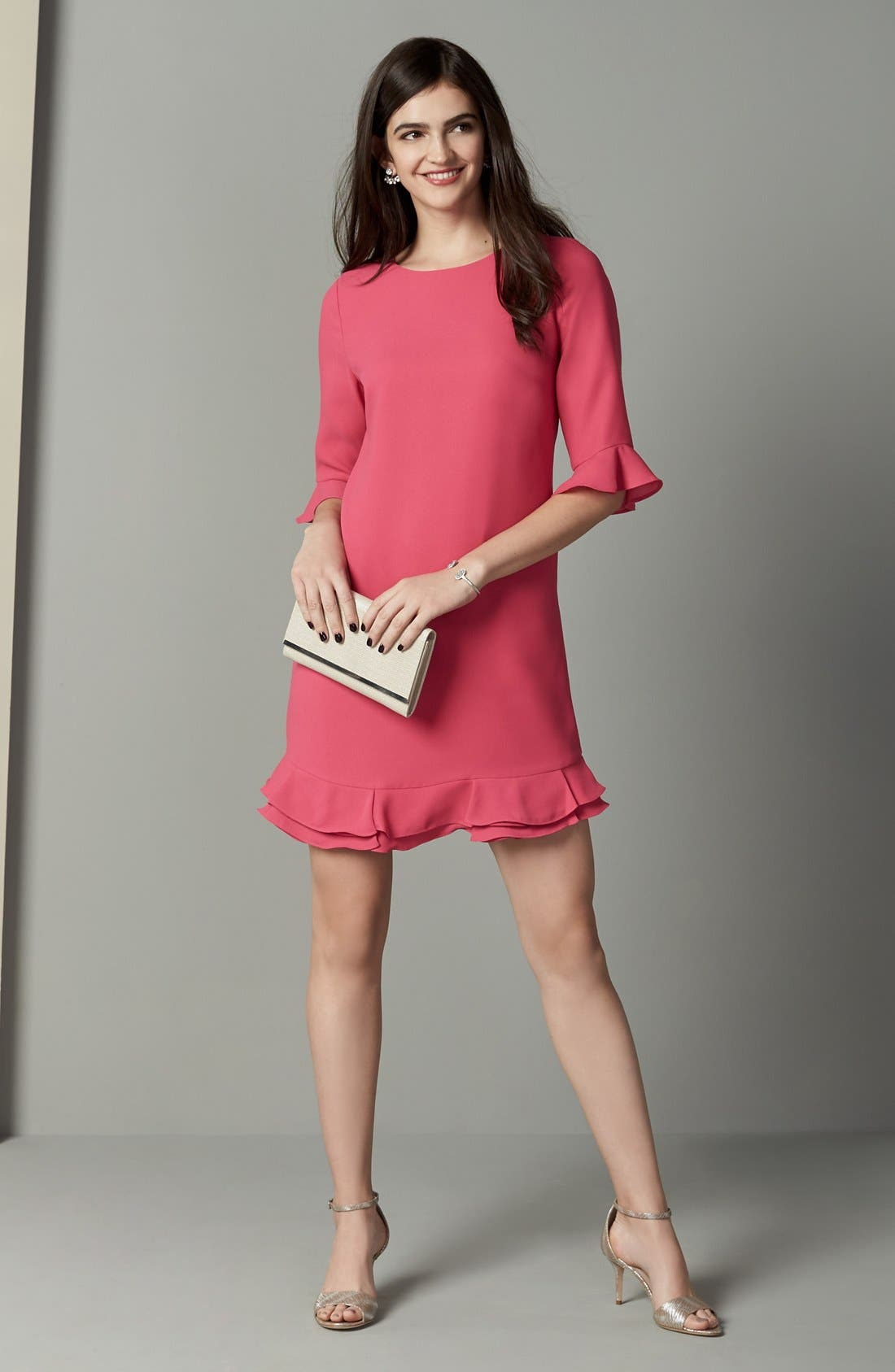 'Kate' Ruffle Hem Shift Dress,                             Alternate thumbnail 40, color,
