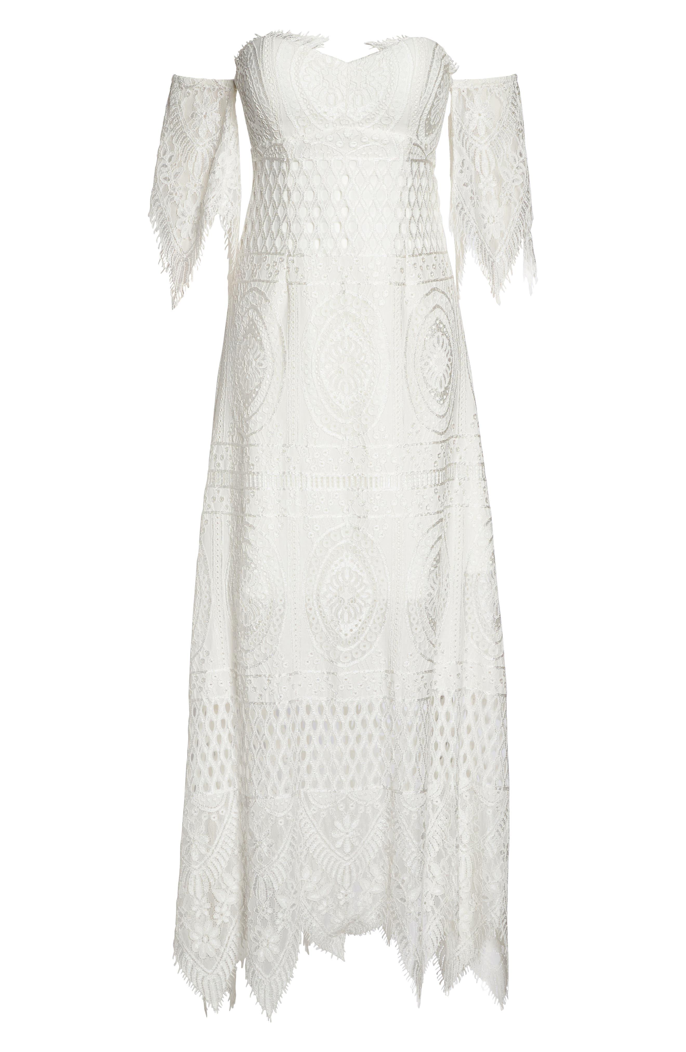 Lace Off the Shoulder Maxi Dress,                             Alternate thumbnail 6, color,                             900