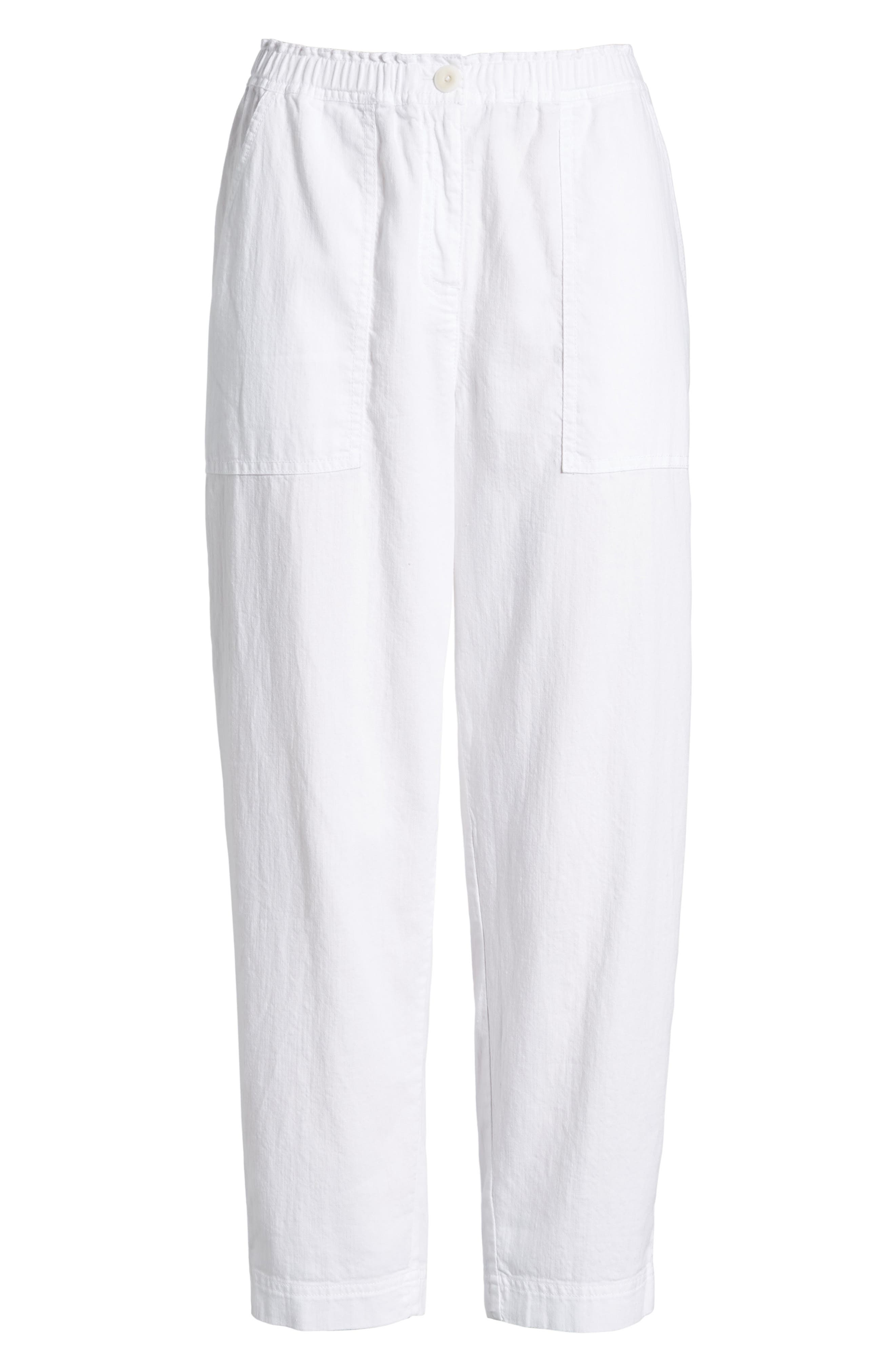 Tapered Organic Cotton Crop Pants,                             Alternate thumbnail 7, color,                             WHITE