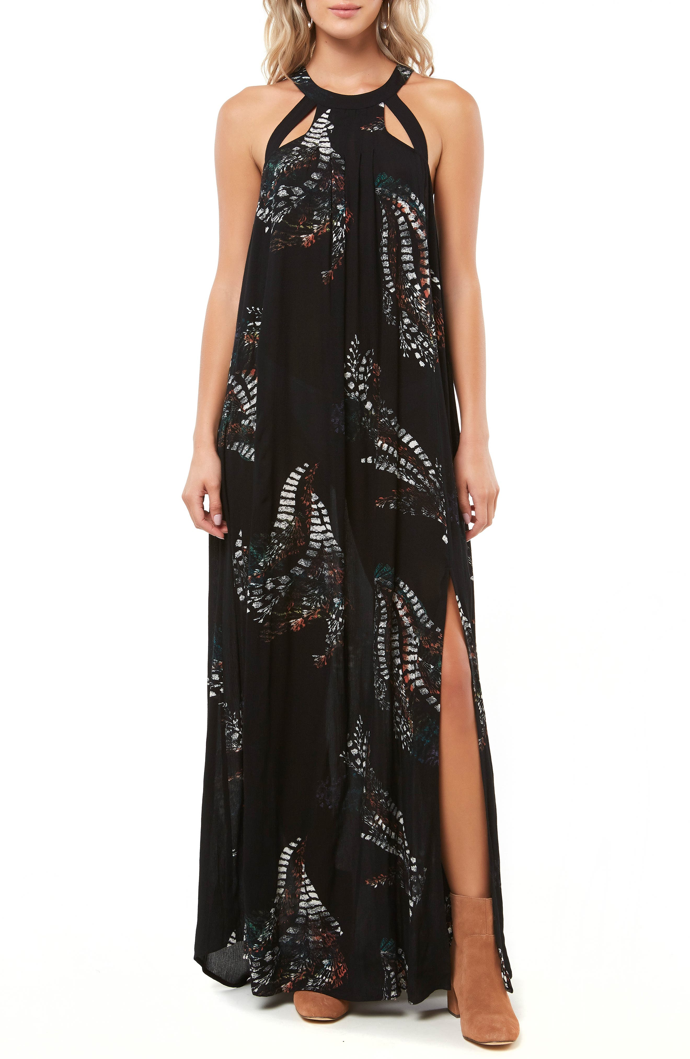 Luka Cutout Maxi Dress,                             Main thumbnail 1, color,                             BLACK