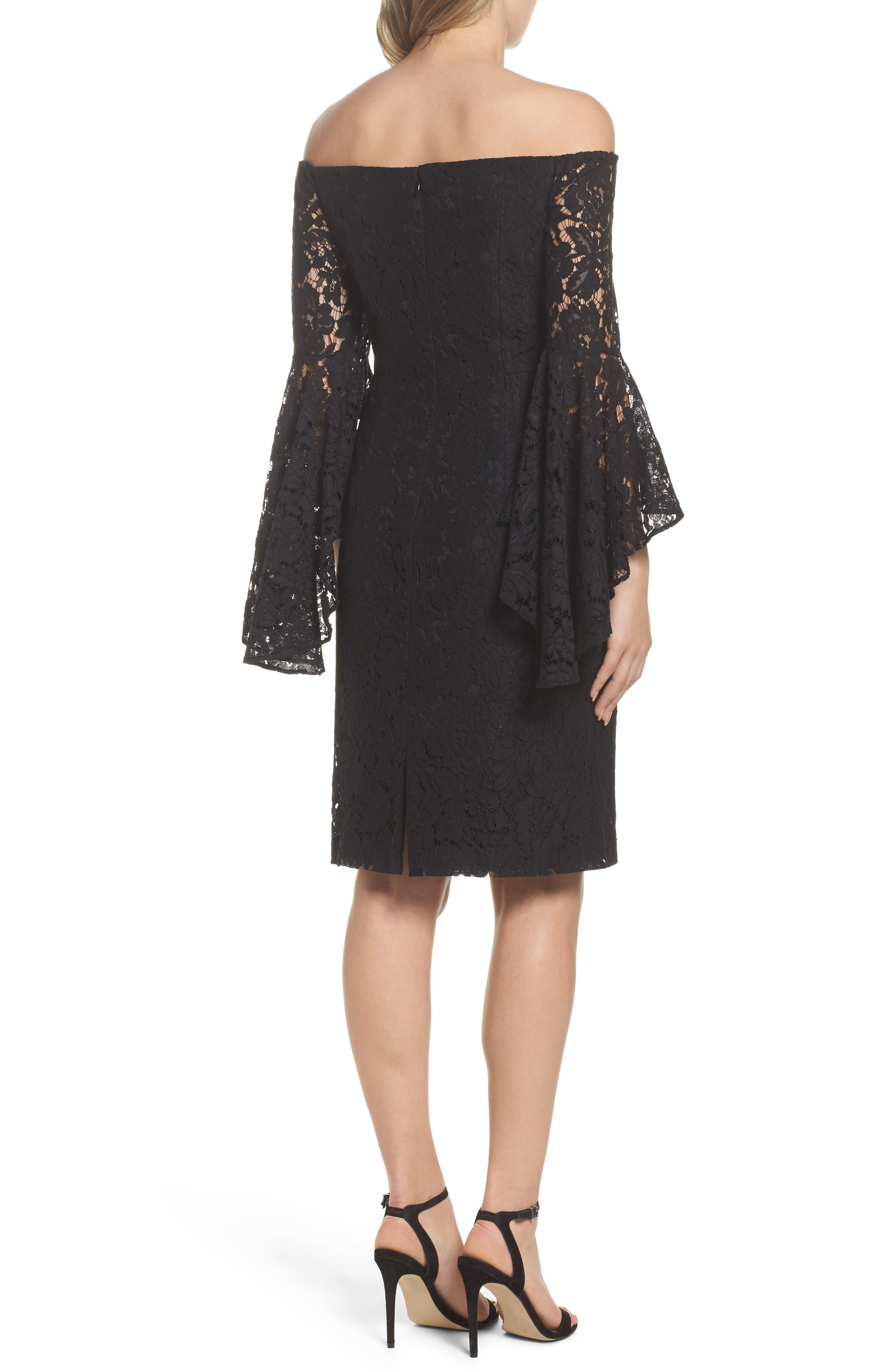 Off the Shoulder Lace Dress,                             Alternate thumbnail 2, color,                             001