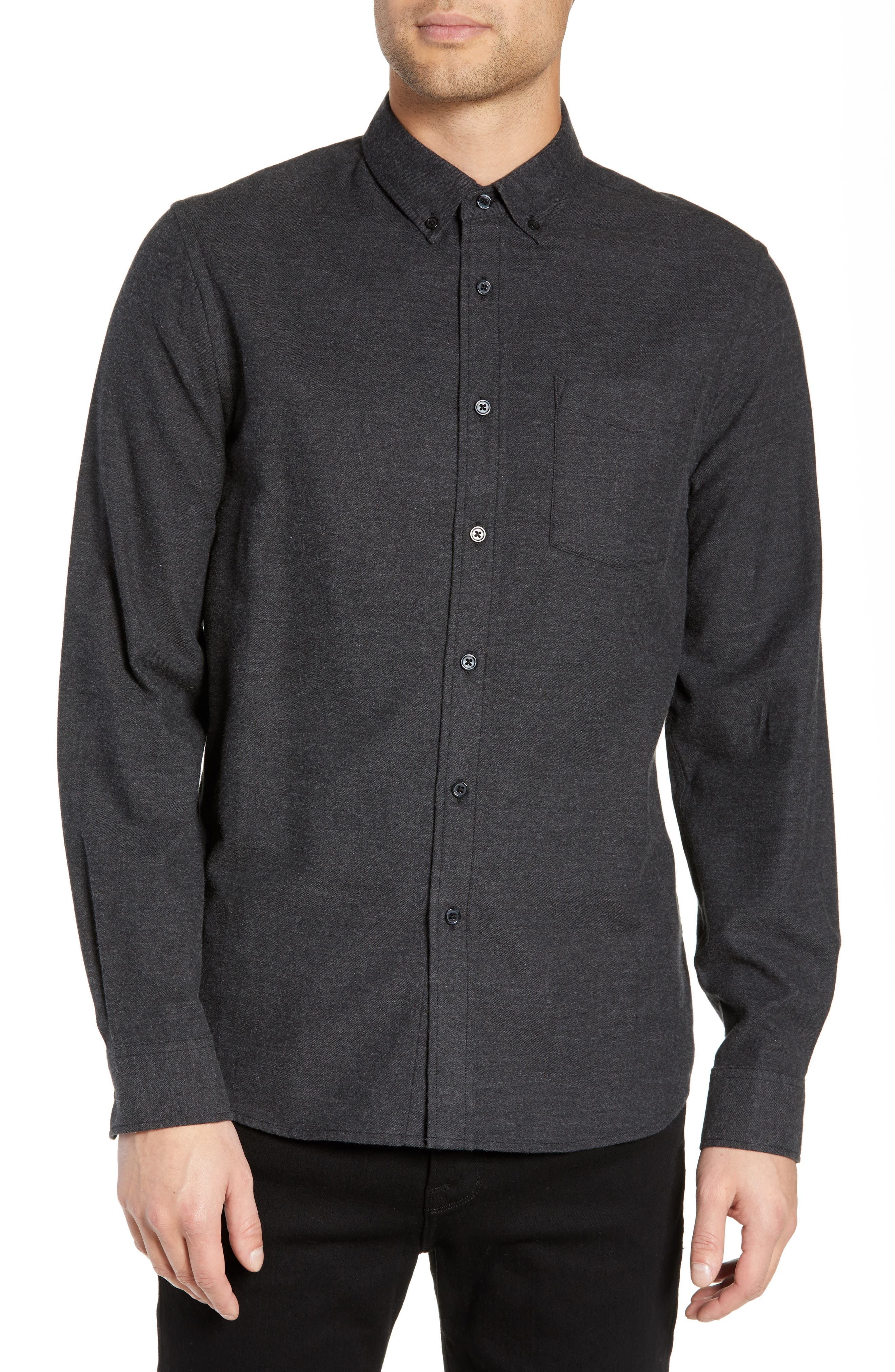 Saturdays Nyc Crosby Solid Flannel Shirt, Black