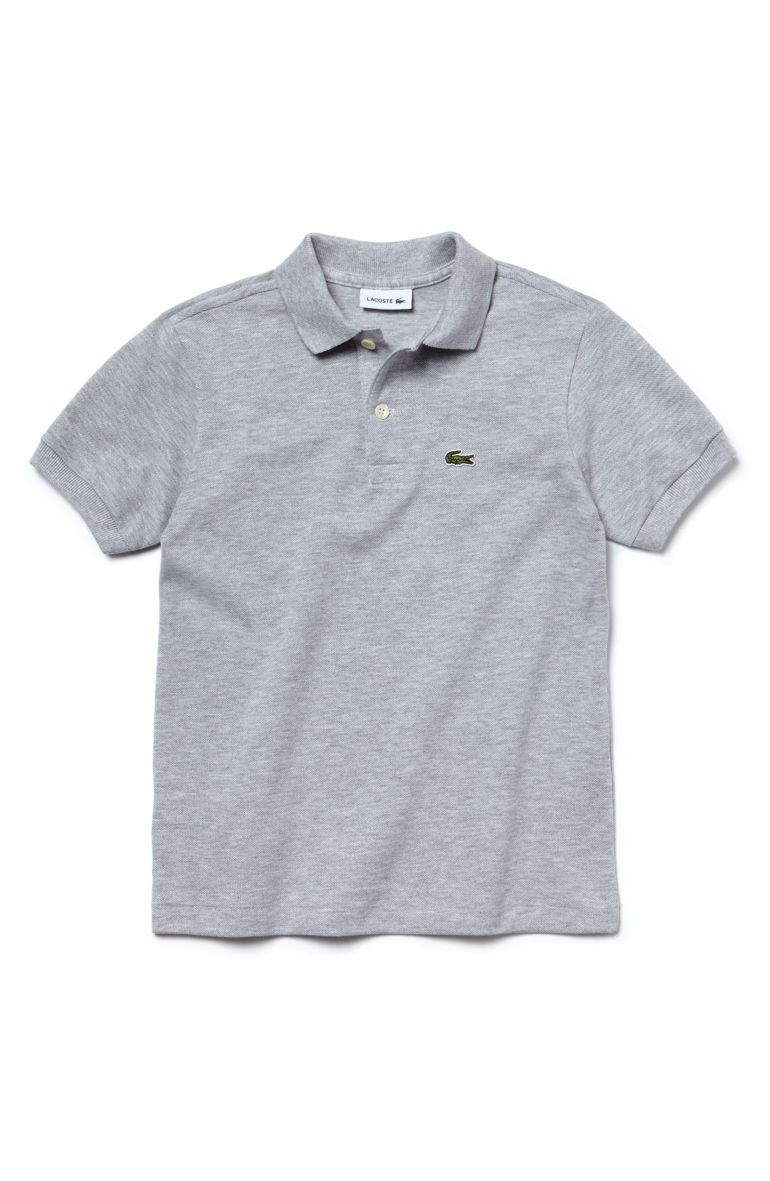Piqué Cotton Polo,                         Main,                         color, SILVER GREY CHINE