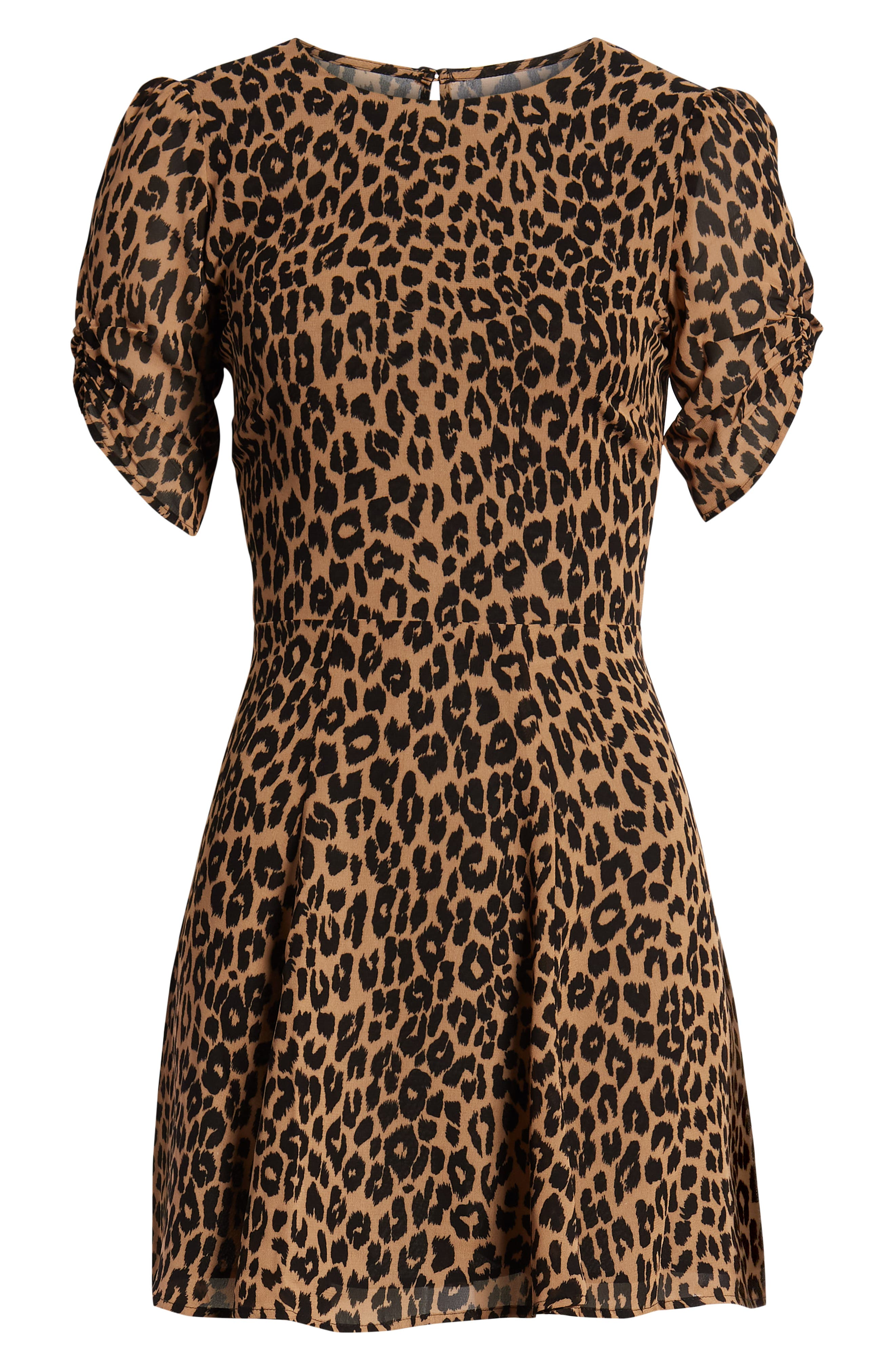 REFORMATION,                             Gracie Ruched Sleeve Minidress,                             Alternate thumbnail 4, color,                             COUGAR