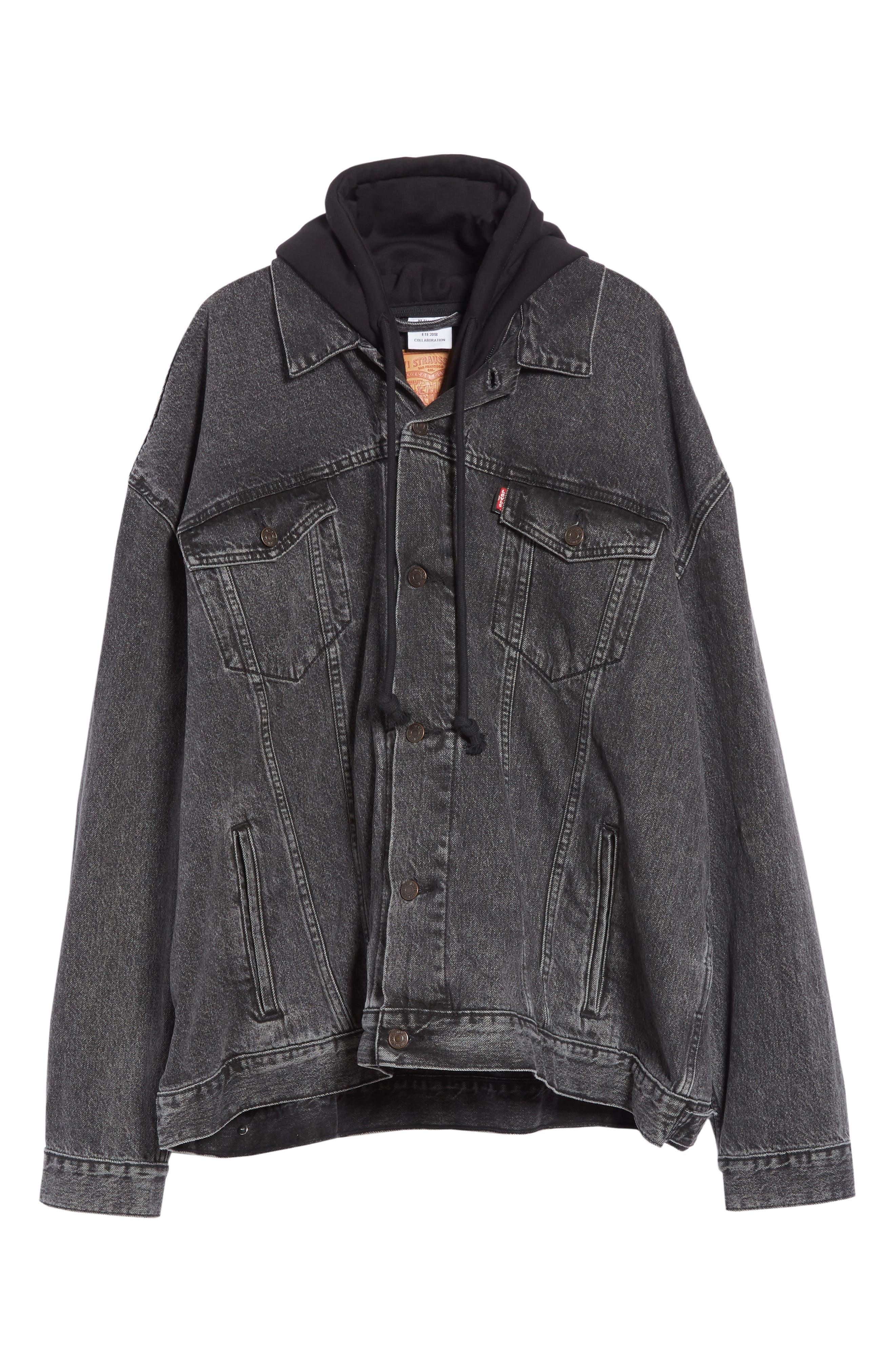 Oversized Removable Hood Denim Jacket,                             Alternate thumbnail 6, color,                             001