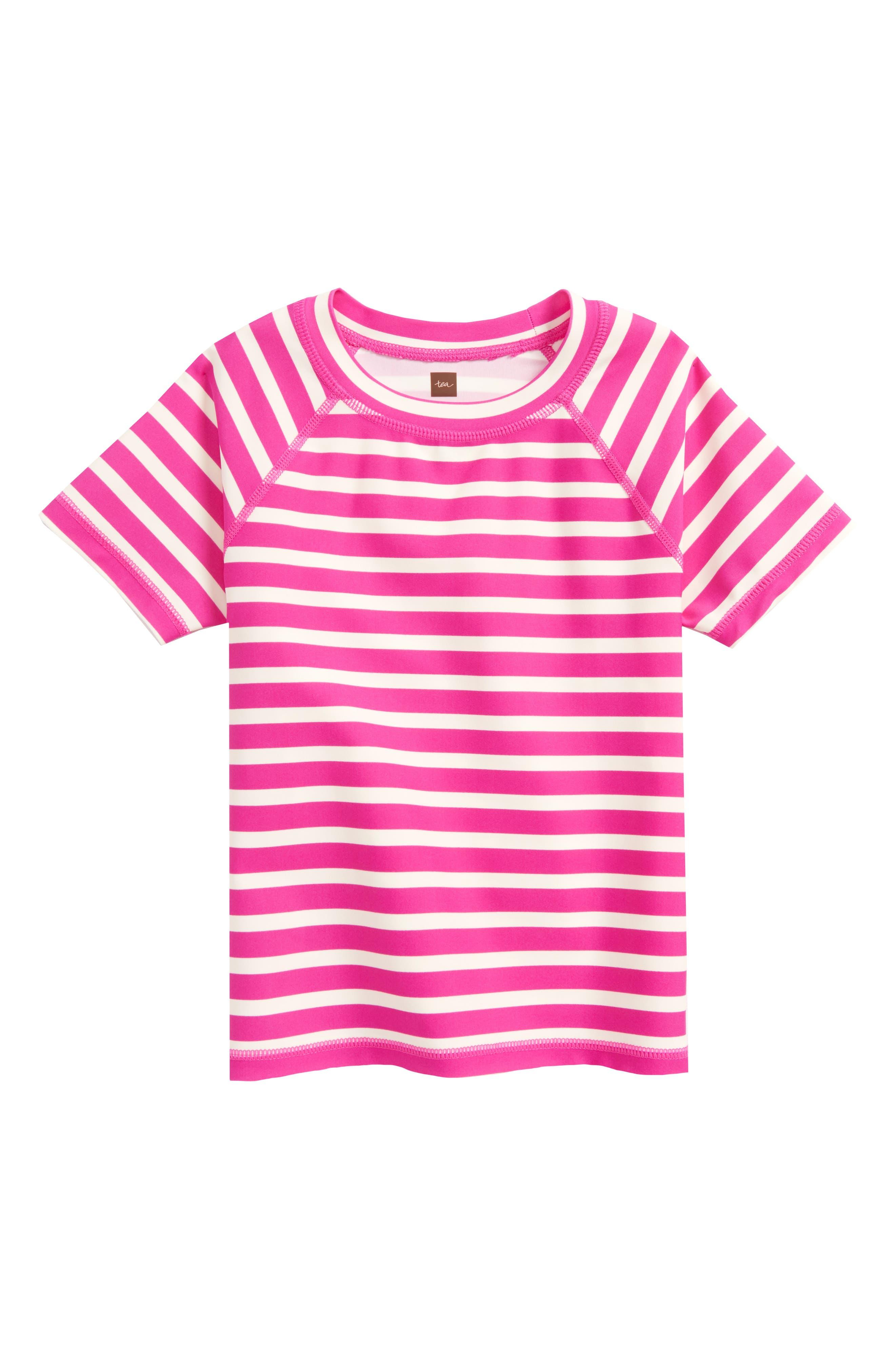 Stripe Short Sleeve Rashguard,                             Main thumbnail 2, color,