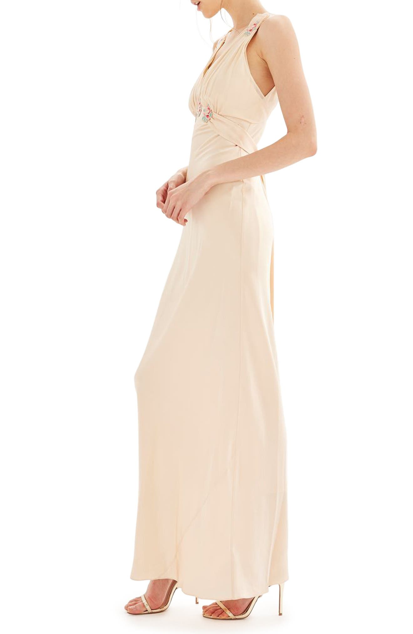 Bride Embroidered Silk Gown,                             Alternate thumbnail 3, color,                             250