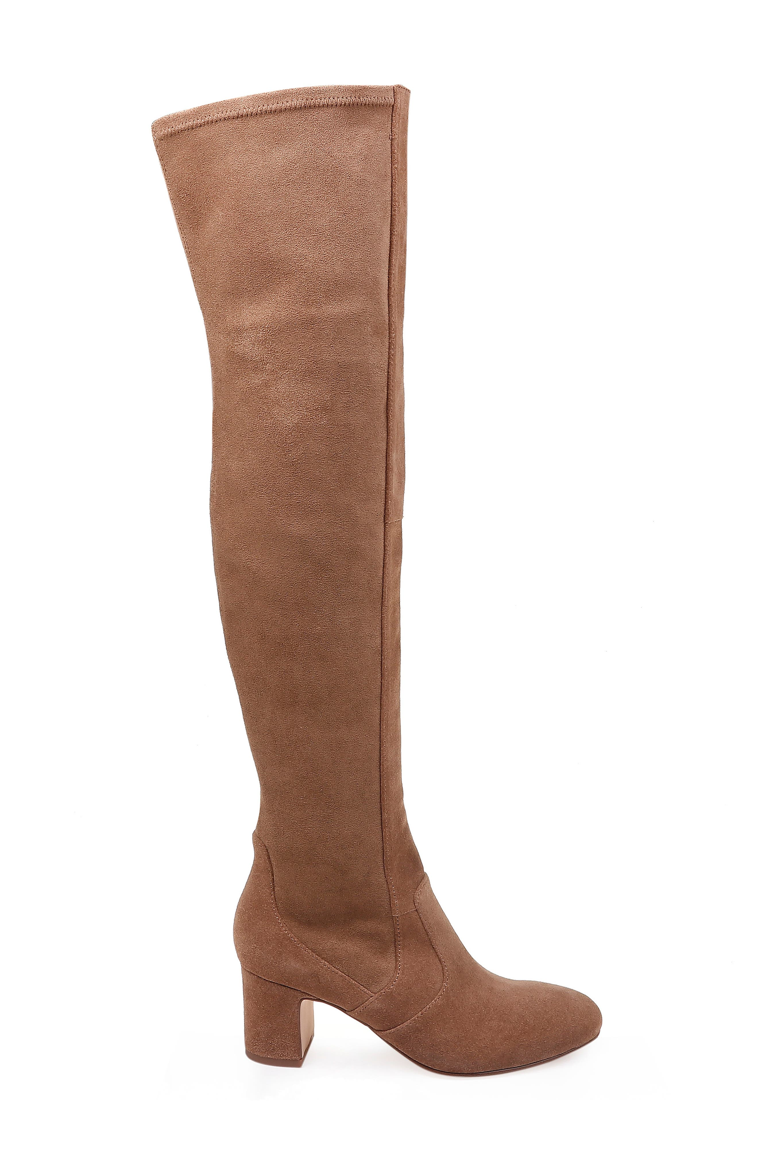 Over the Knee Stretch Back Boot,                             Alternate thumbnail 3, color,                             LIGHT BROWN SUEDE