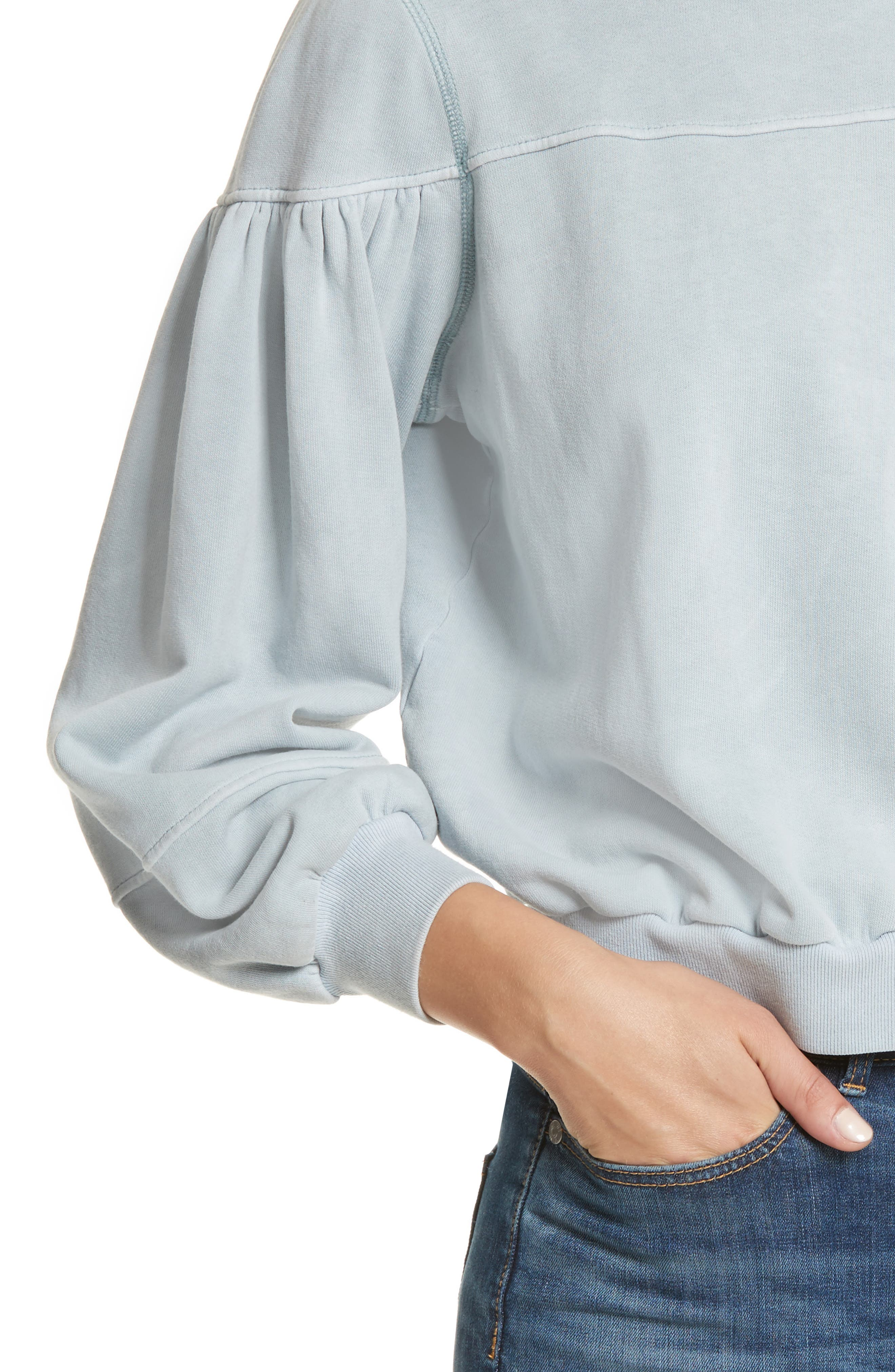 Balloon Sleeve Fleece Pullover,                             Alternate thumbnail 4, color,