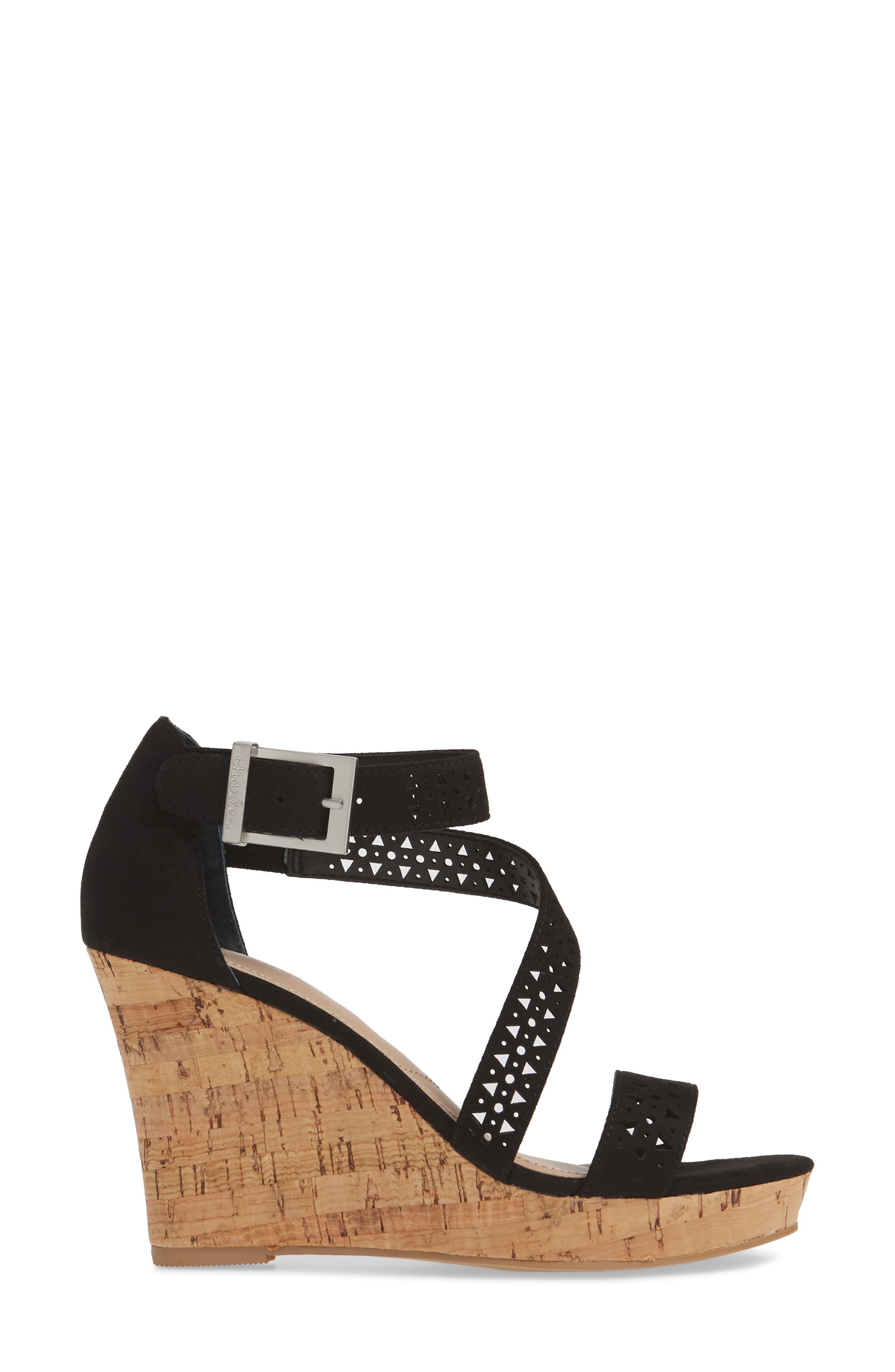 Landon Perforated Wedge Sandal,                             Alternate thumbnail 3, color,                             BLACK FABRIC