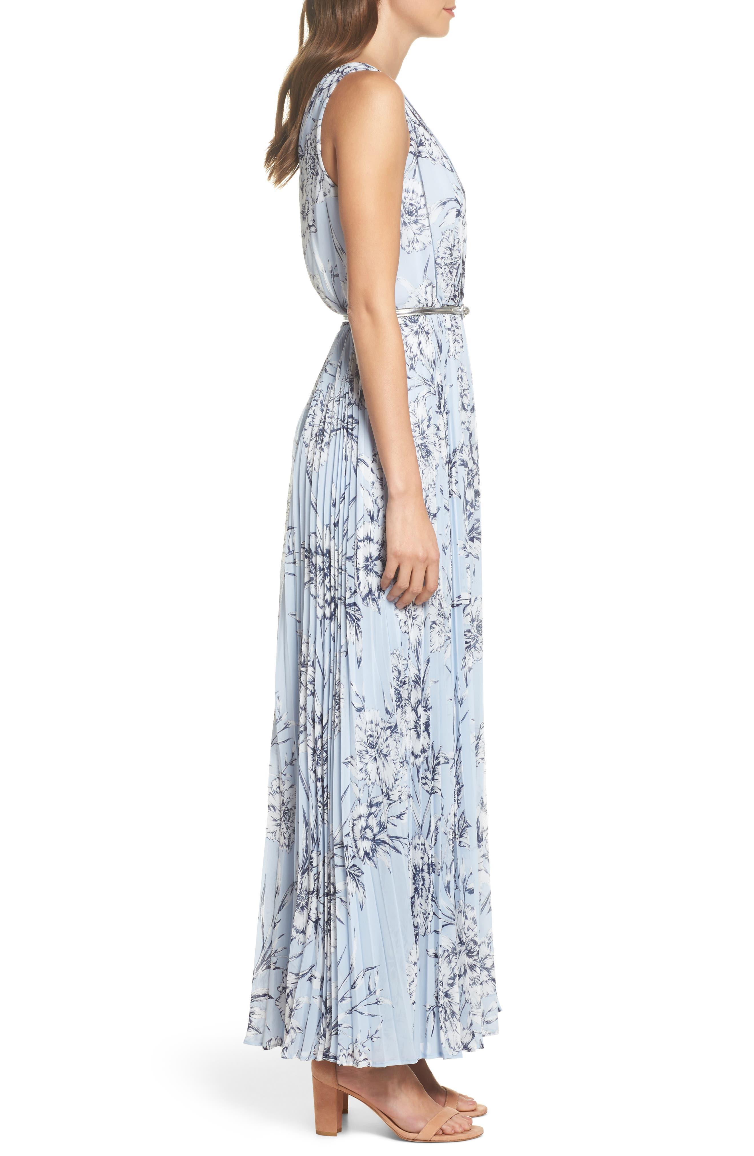 Pleated Maxi Dress,                             Alternate thumbnail 3, color,                             421