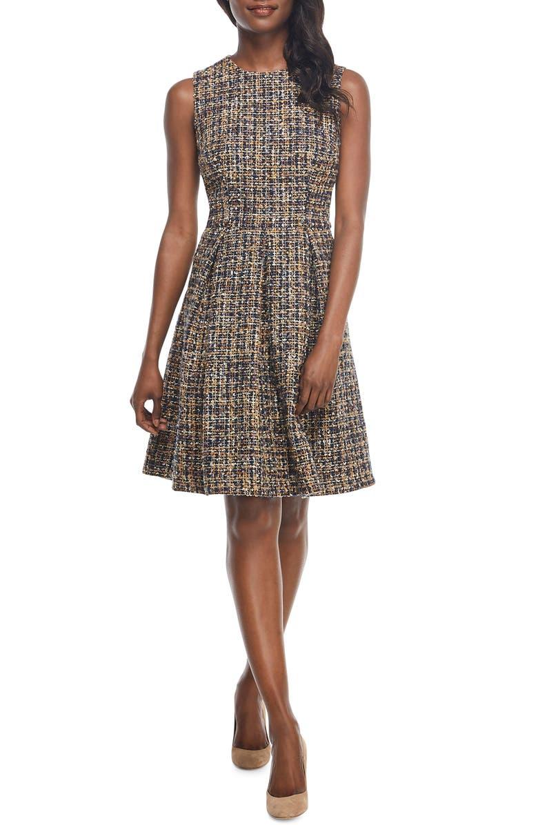 Tinsley Metallic Tweed Fit & Flare Dress,                         Main,                         color, MULTI