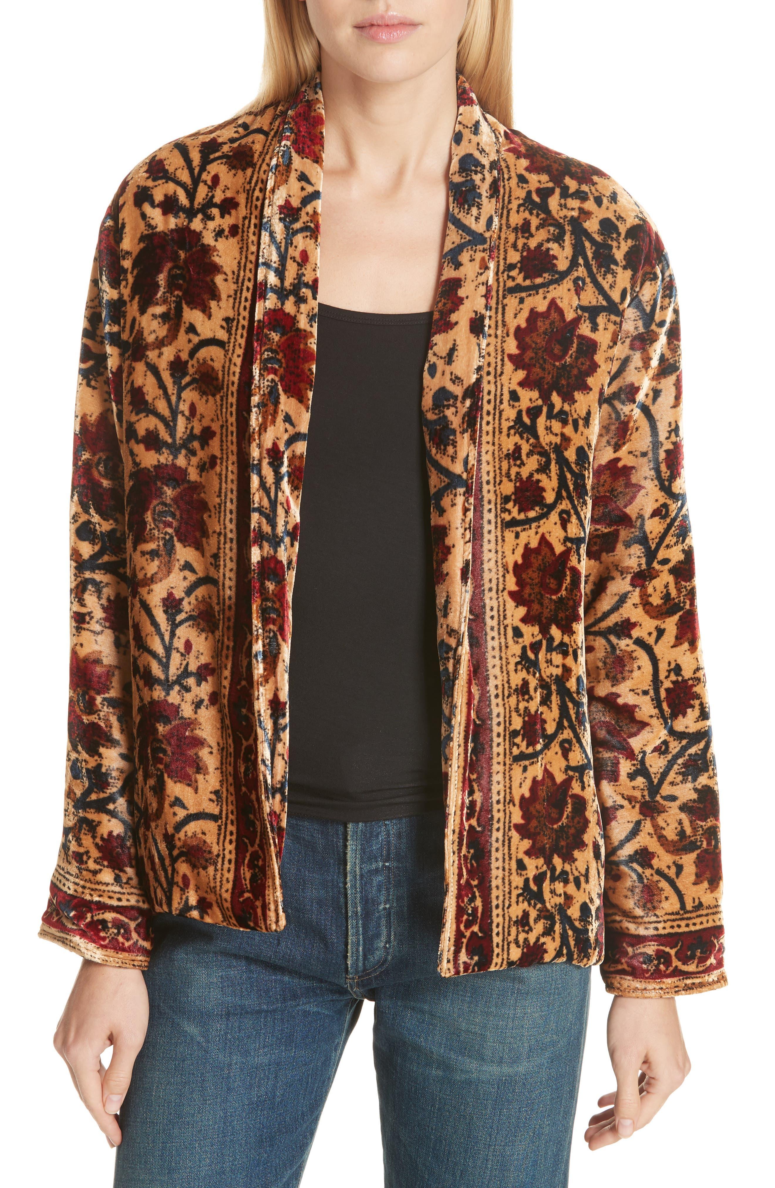 Charles Floral Cotton Velvet Jacket,                         Main,                         color, 291