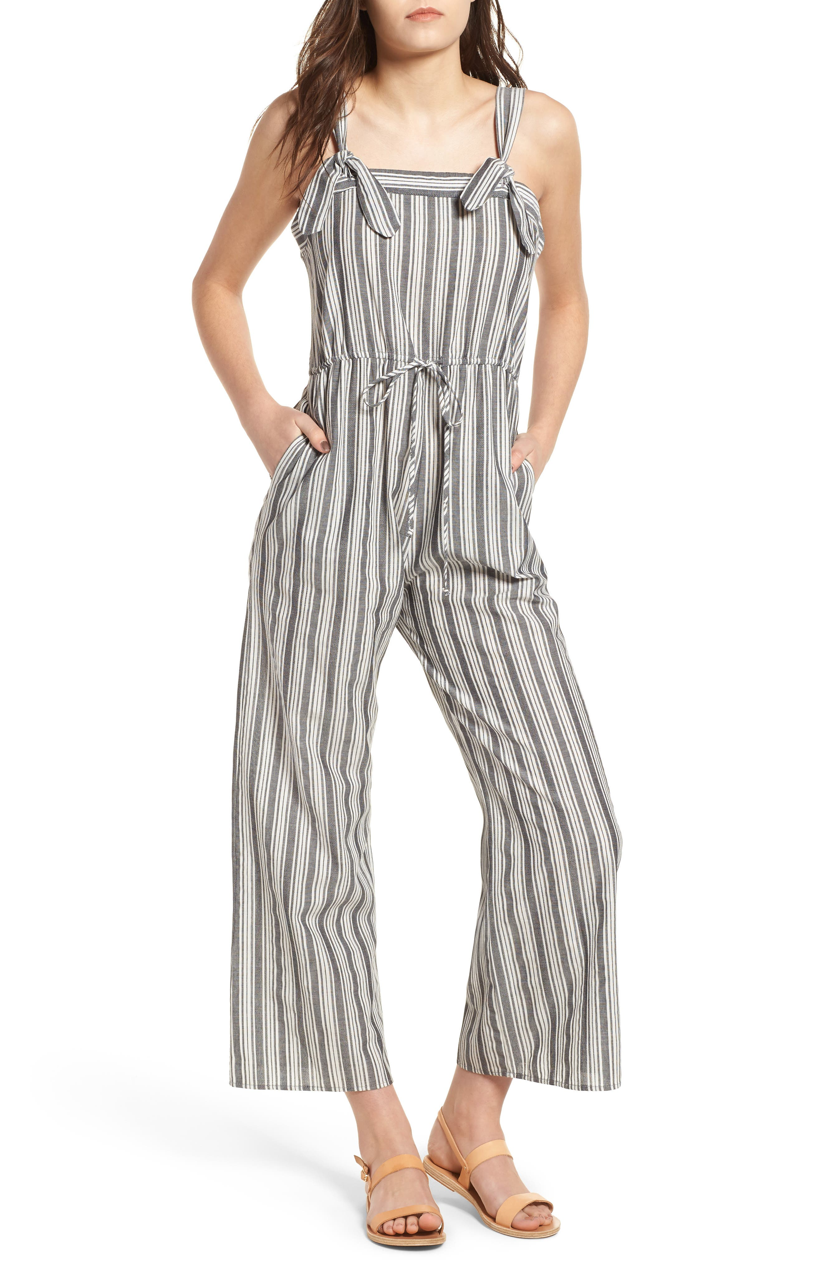 Stripe Knot Strap Jumpsuit,                             Main thumbnail 1, color,                             WHITE SUN STRIPE