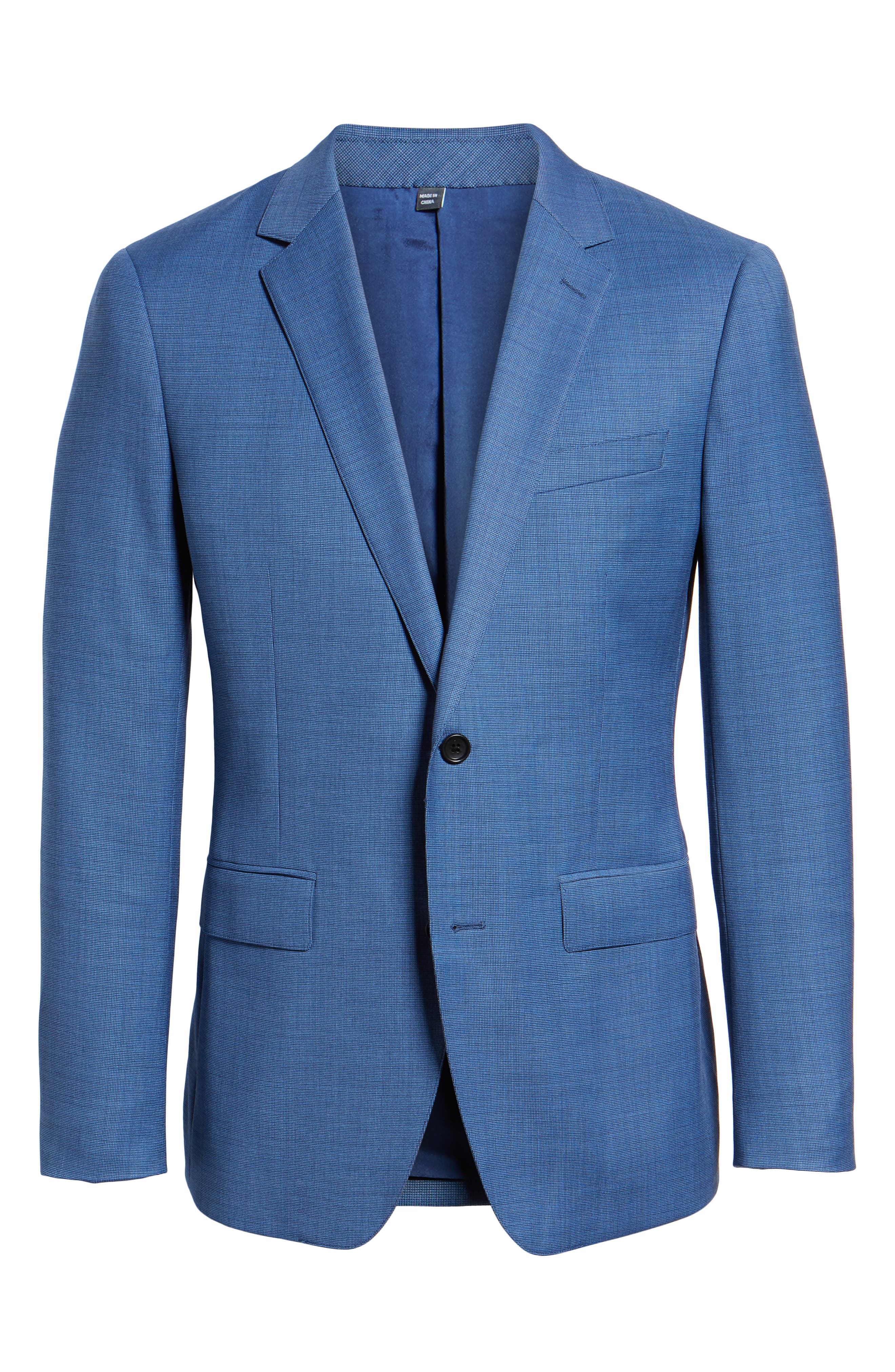 Jetsetter Trim Fit Stretch Solid Wool Suit Jacket,                             Alternate thumbnail 5, color,                             BRIGHTER BLUE