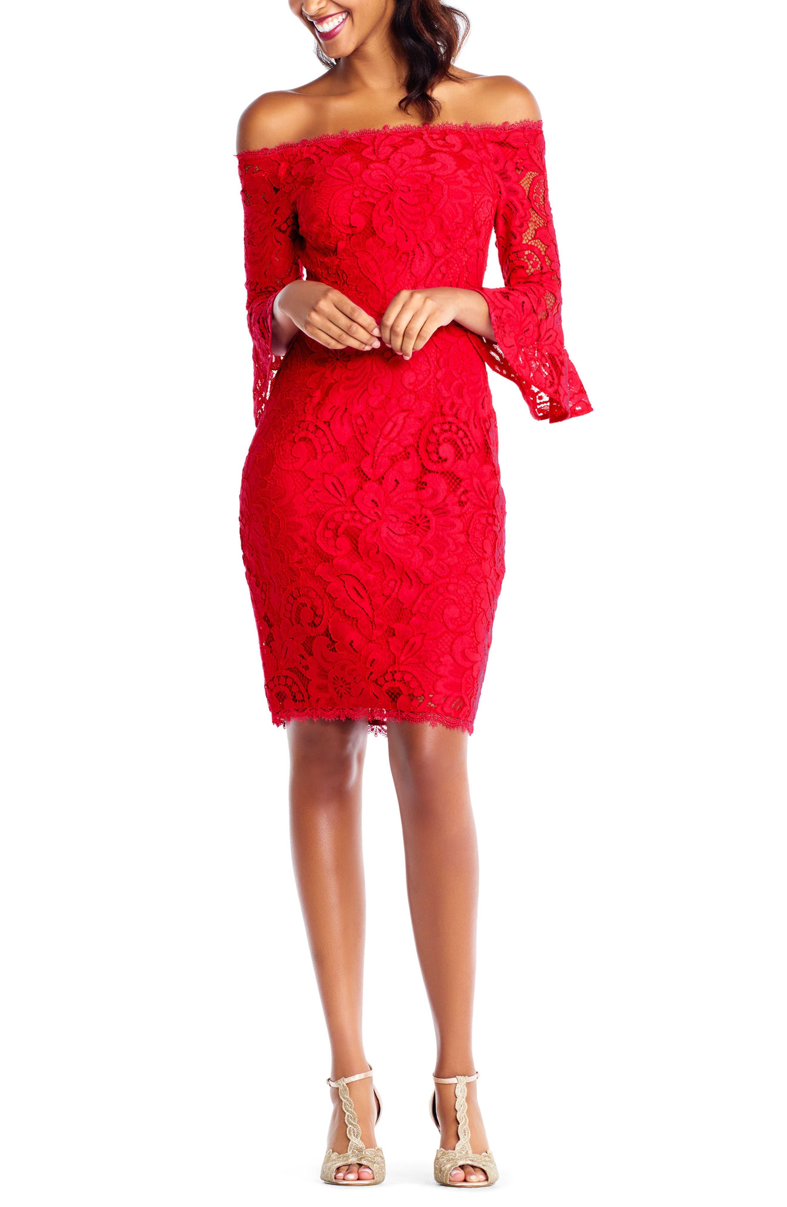 Off the Shoulder Lace Sheath Dress,                             Alternate thumbnail 5, color,                             620