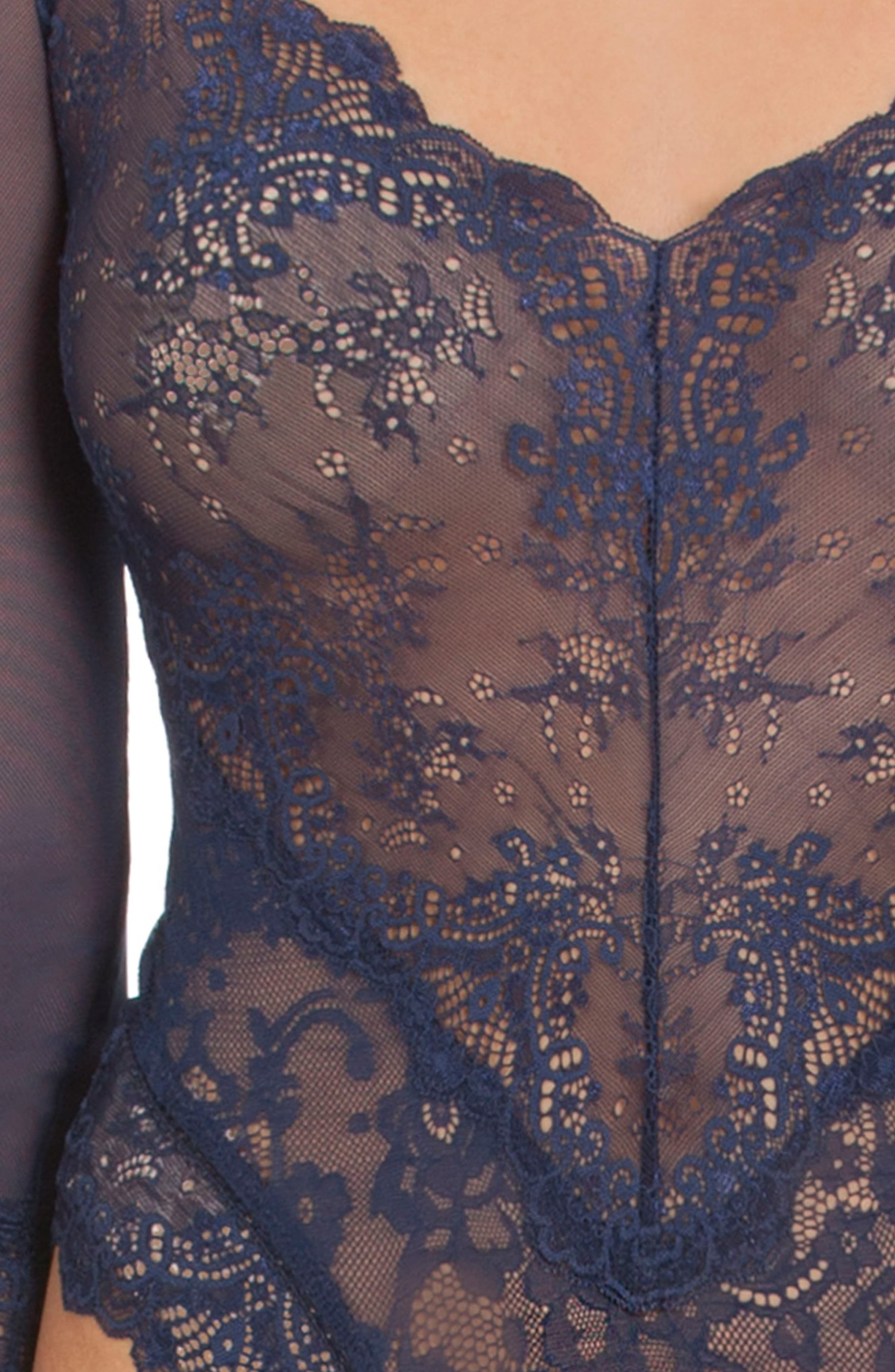 Thong Lace Teddy,                             Alternate thumbnail 4, color,                             400