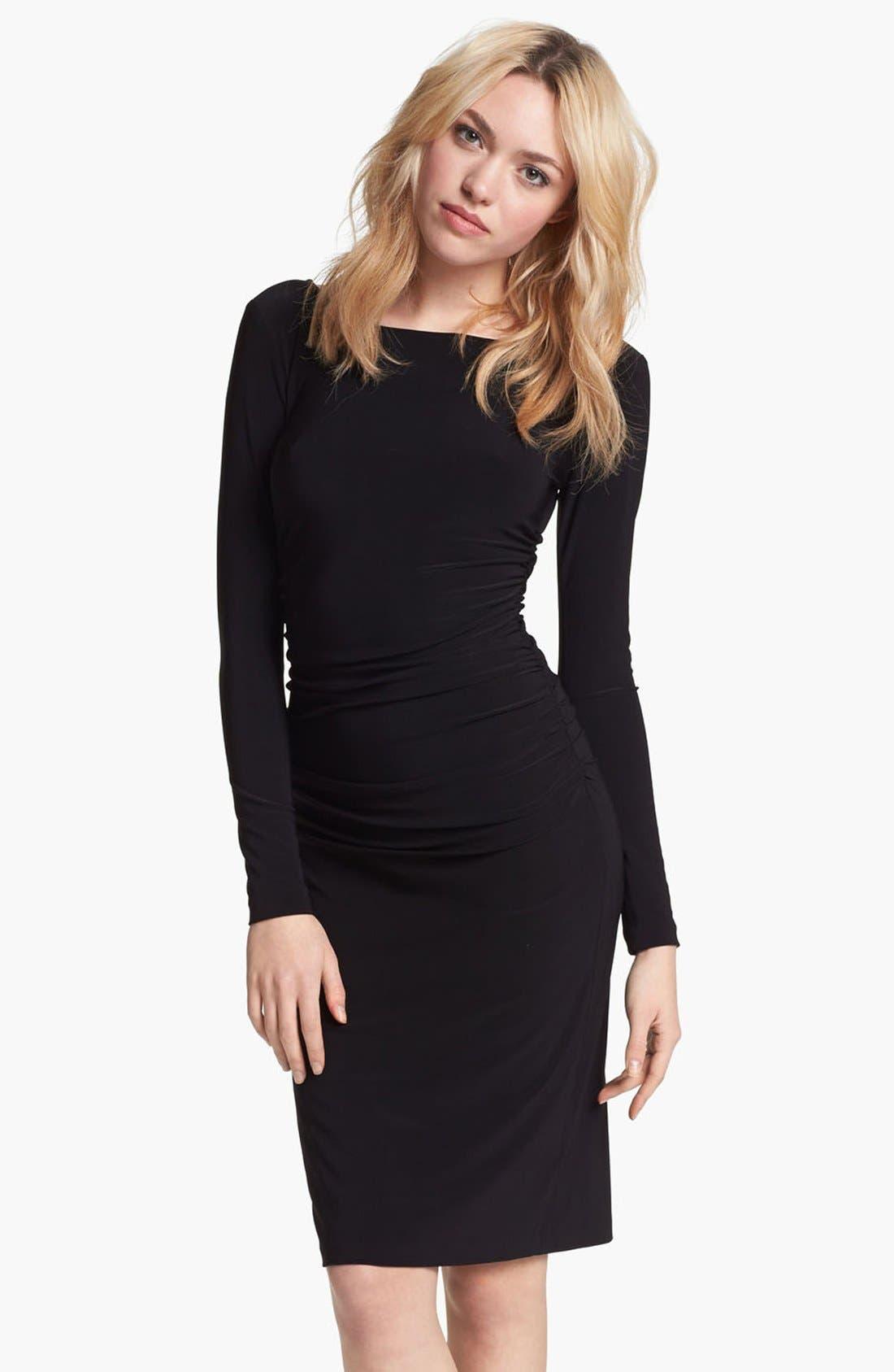 Shirred Long Sleeve Dress,                             Main thumbnail 1, color,                             001