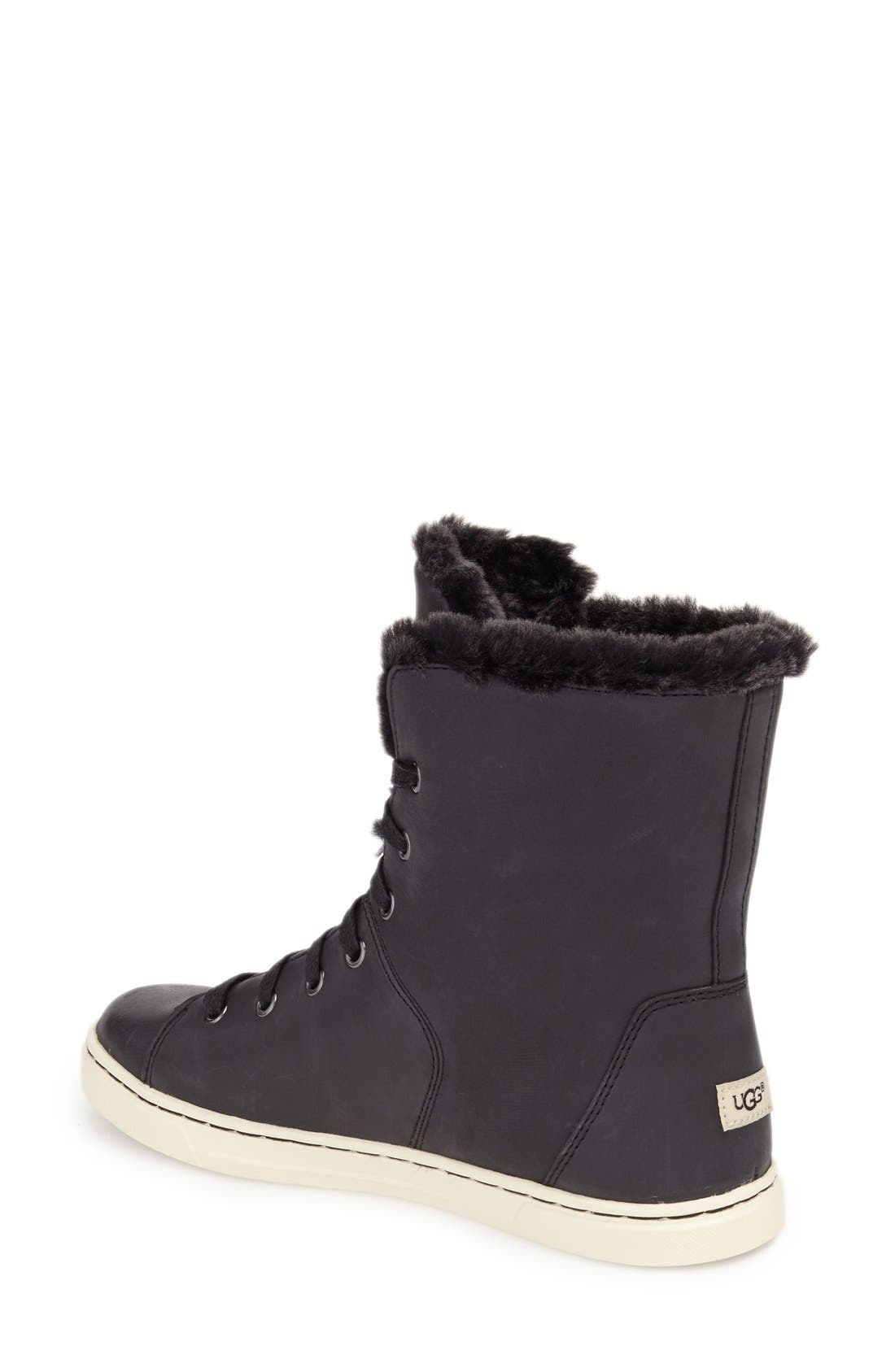 'Croft Luxe' Genuine Shearling High Top Sneaker,                             Alternate thumbnail 3, color,                             001