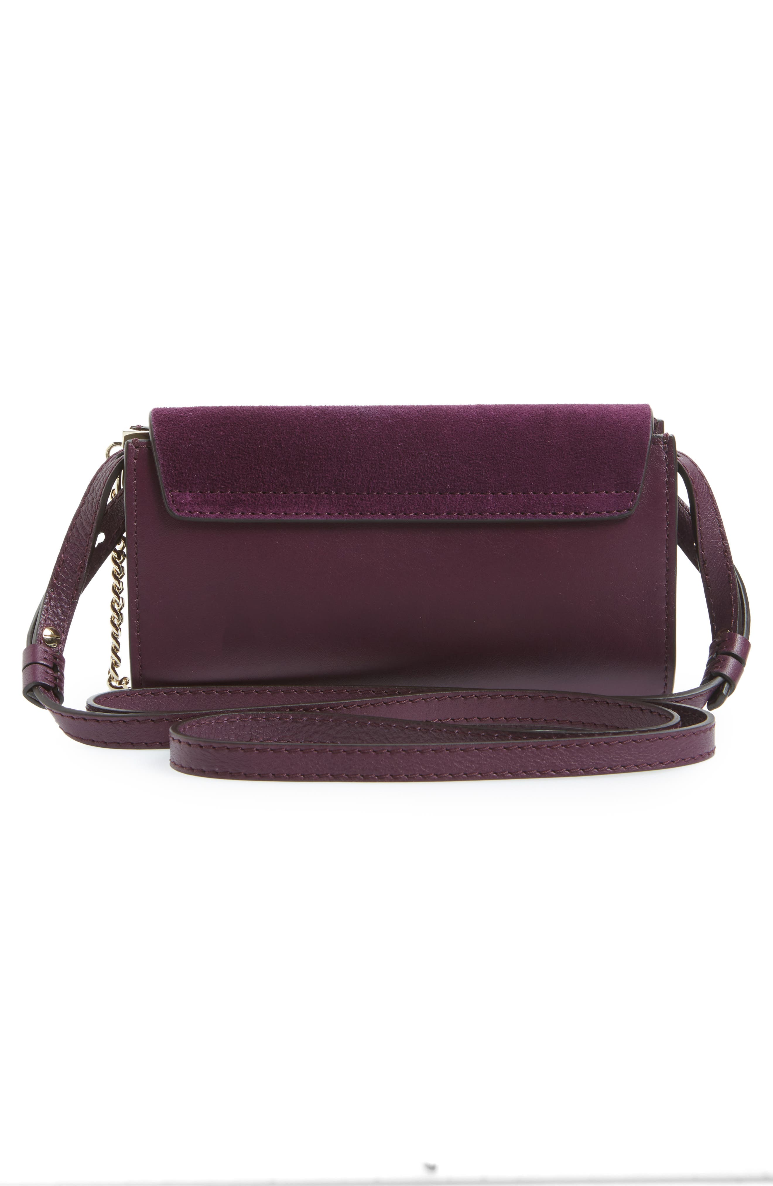 Faye Leather & Suede Wallet on a Strap,                             Alternate thumbnail 6, color,