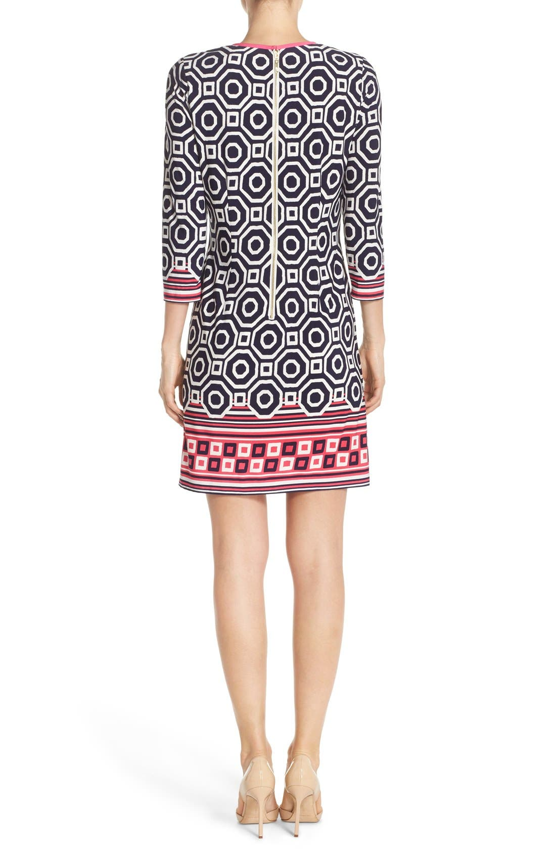 Print Jersey Shift Dress,                             Alternate thumbnail 3, color,                             410