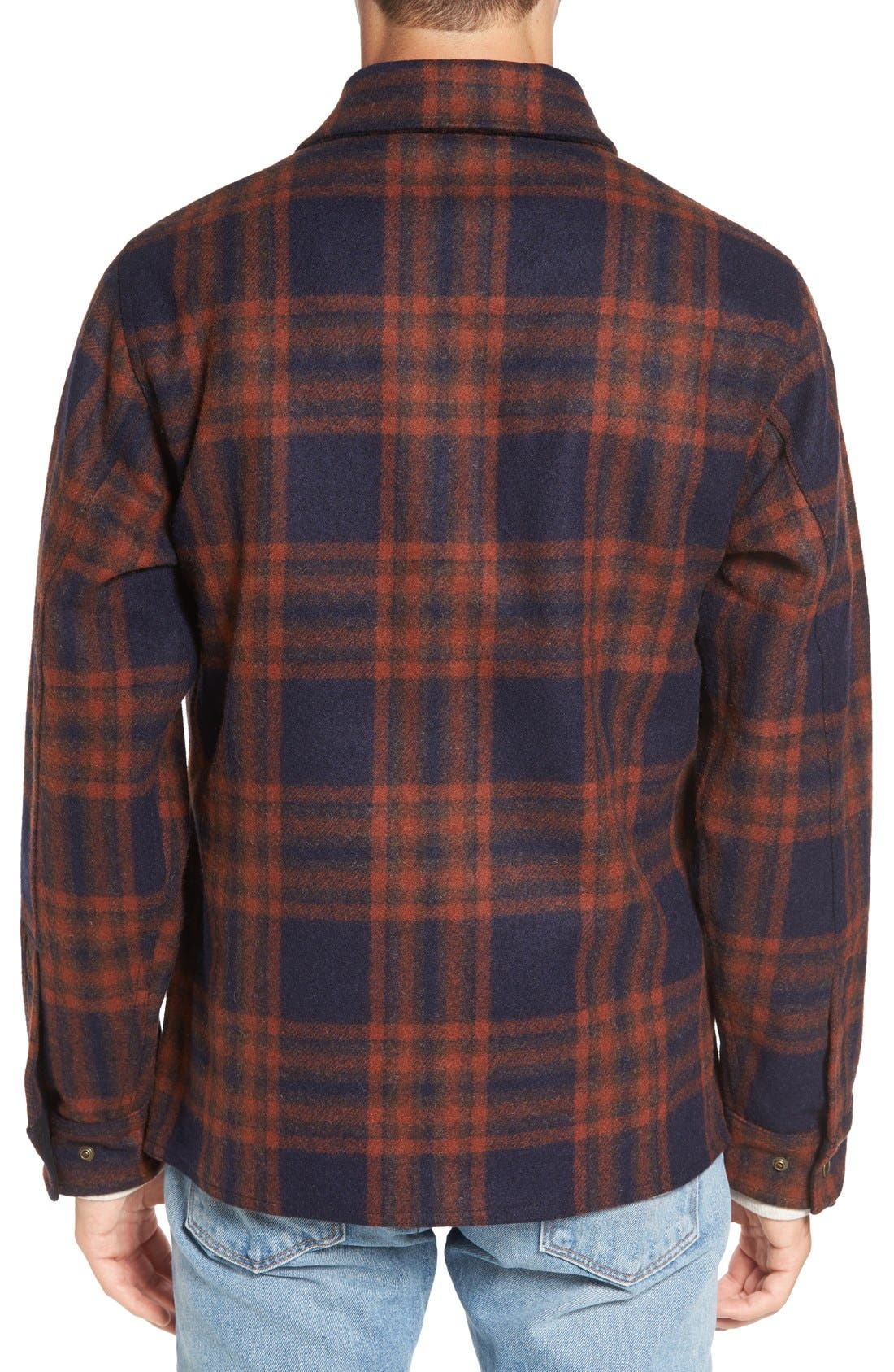 'Macinaw' Plaid Wool Flannel Shirt Jacket,                             Alternate thumbnail 4, color,