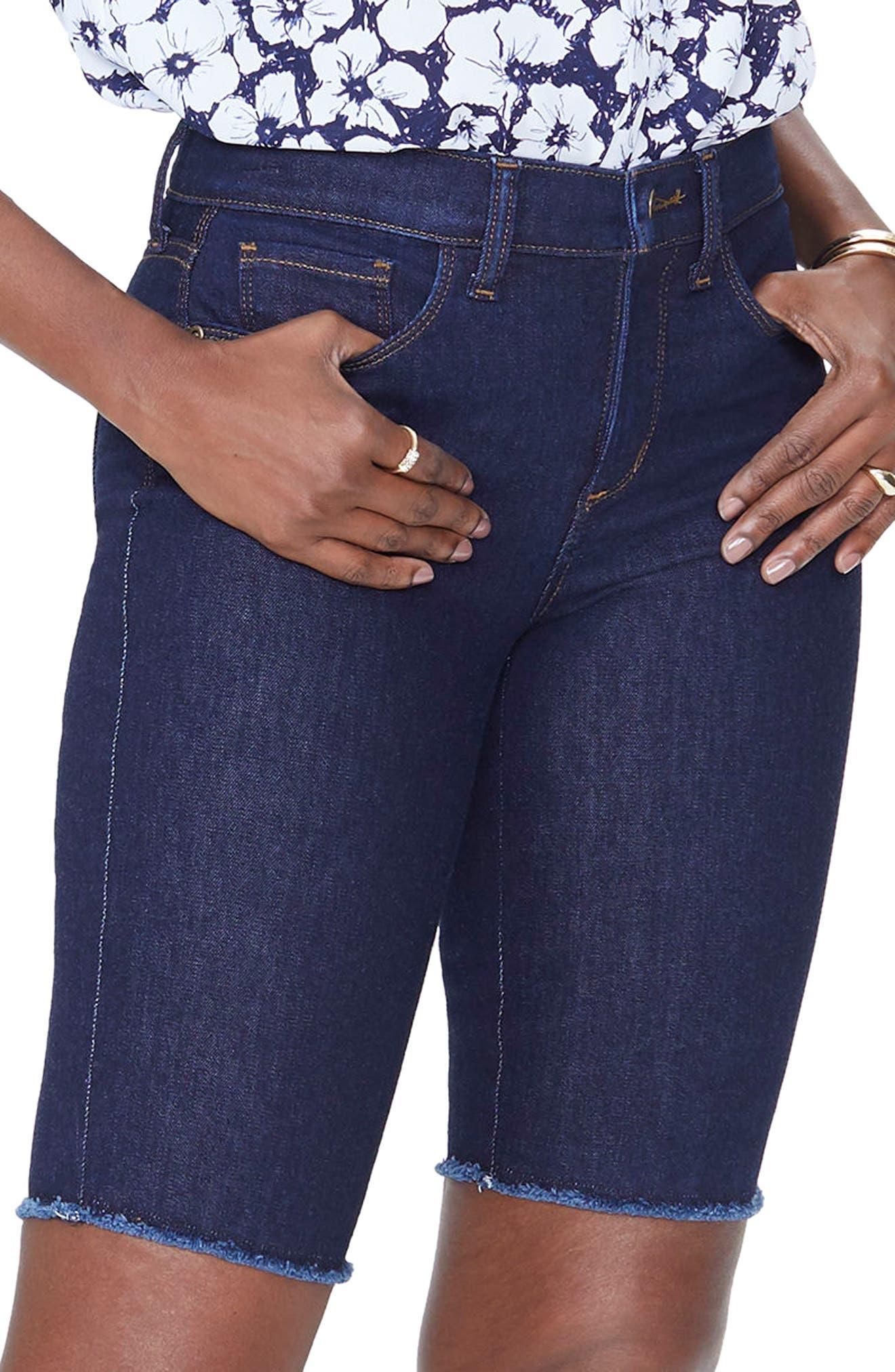 Briella Fray Hem Denim Bermuda Shorts,                             Main thumbnail 1, color,                             408