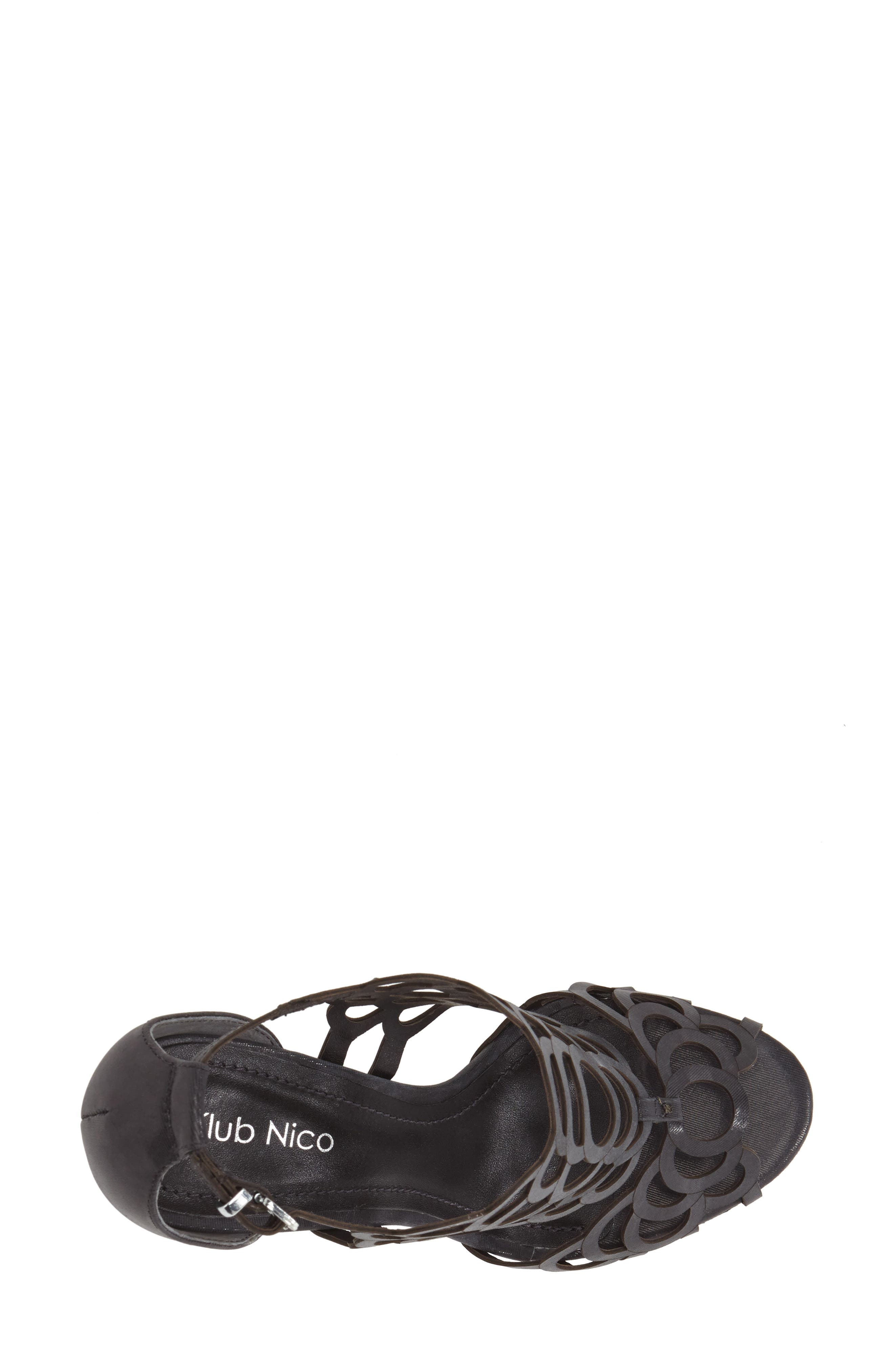'Millie' Cutout Sandal,                             Alternate thumbnail 5, color,                             BLACK