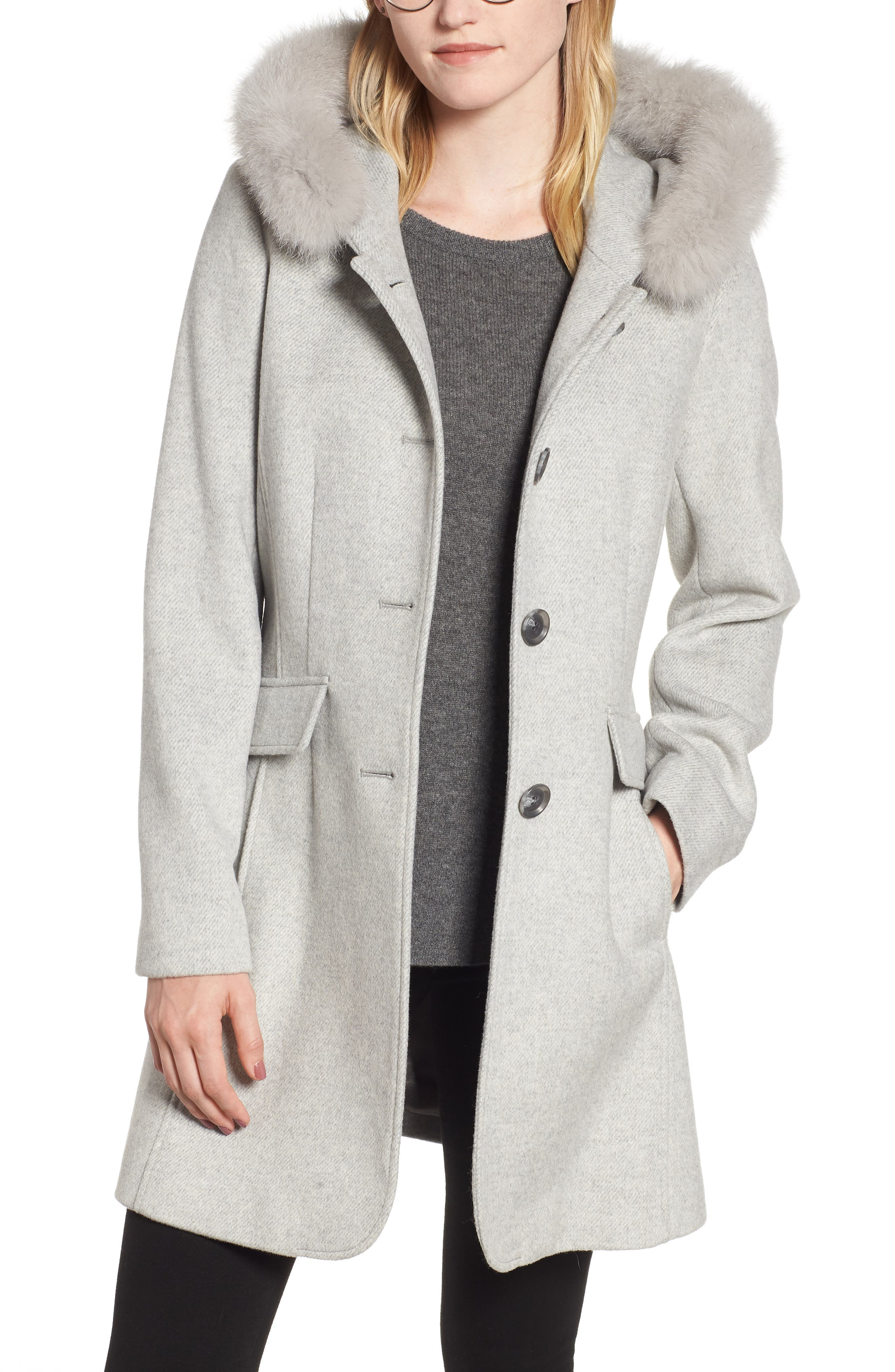 KRISTEN BLAKE,                             Genuine Fox Trim Hooded Wool Coat,                             Main thumbnail 1, color,                             GREY MELANGE