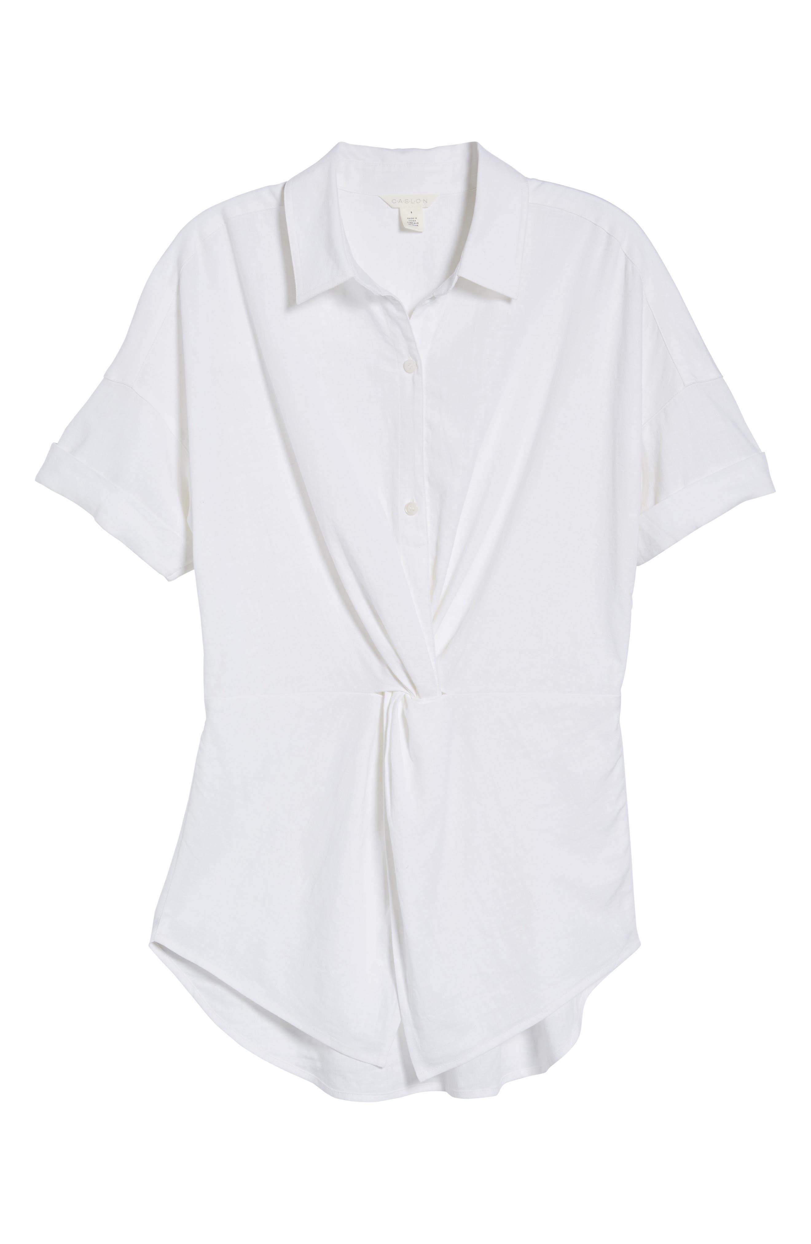 Twist Front Linen Blend Shirt,                             Alternate thumbnail 7, color,                             100