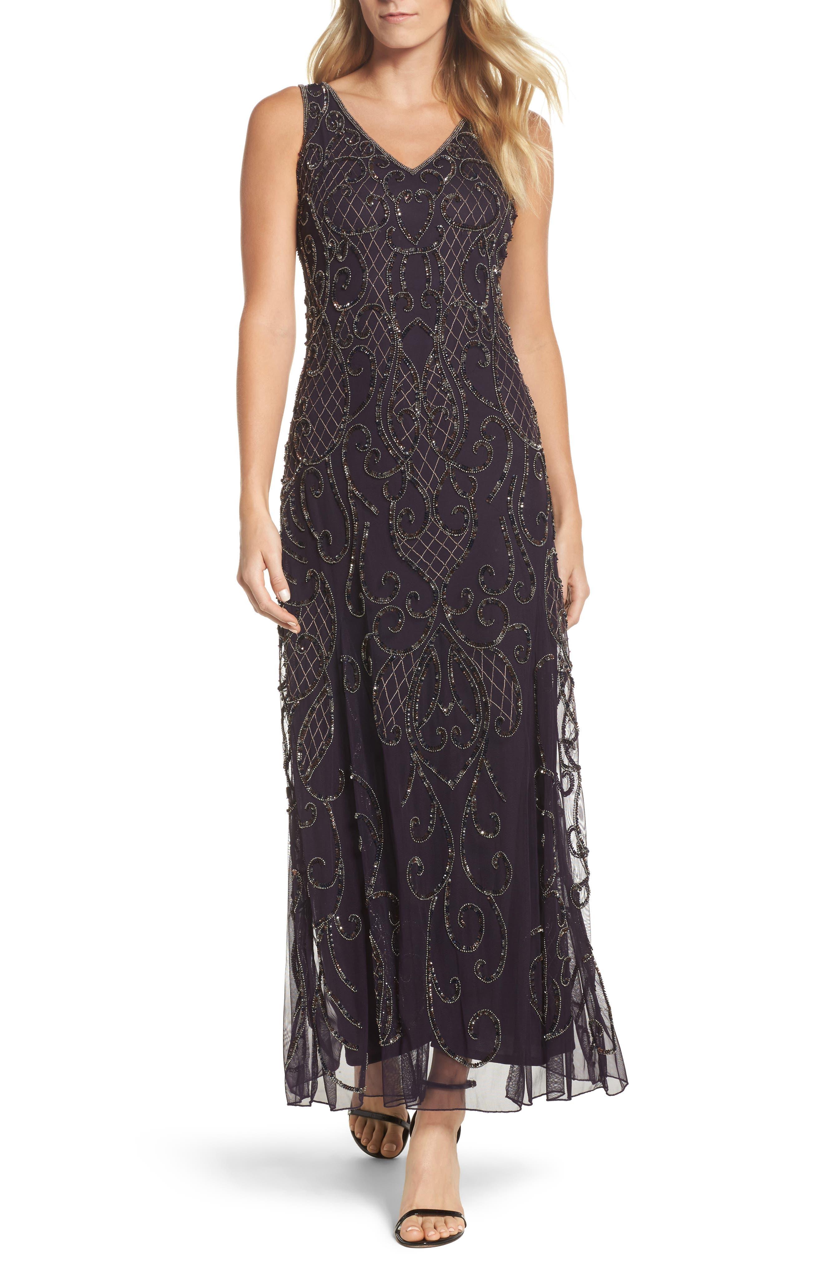 Embellished V-Neck Gown,                             Main thumbnail 1, color,                             502