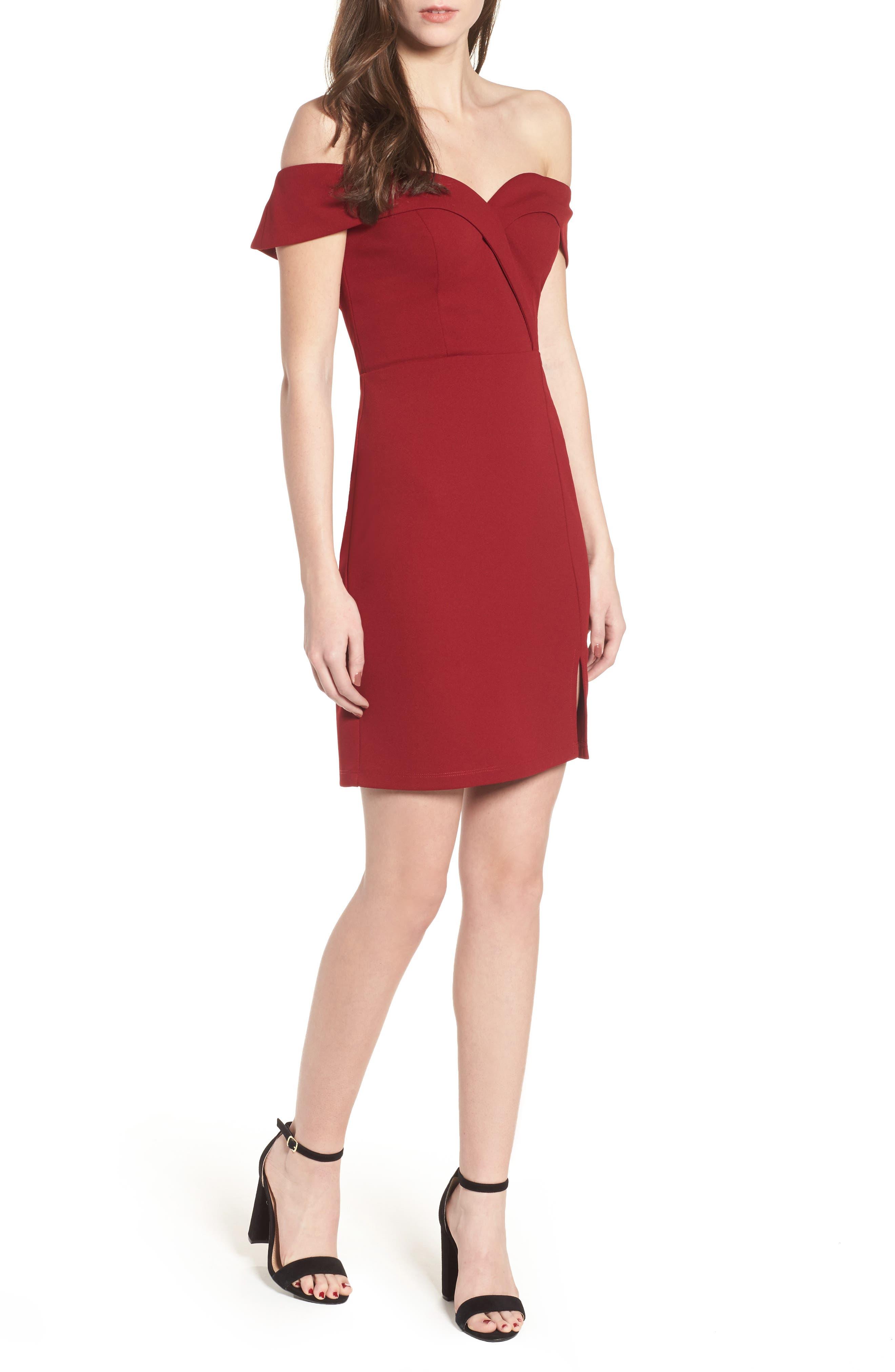 Speechless Off The Shoulder Body-Con Dress, Burgundy