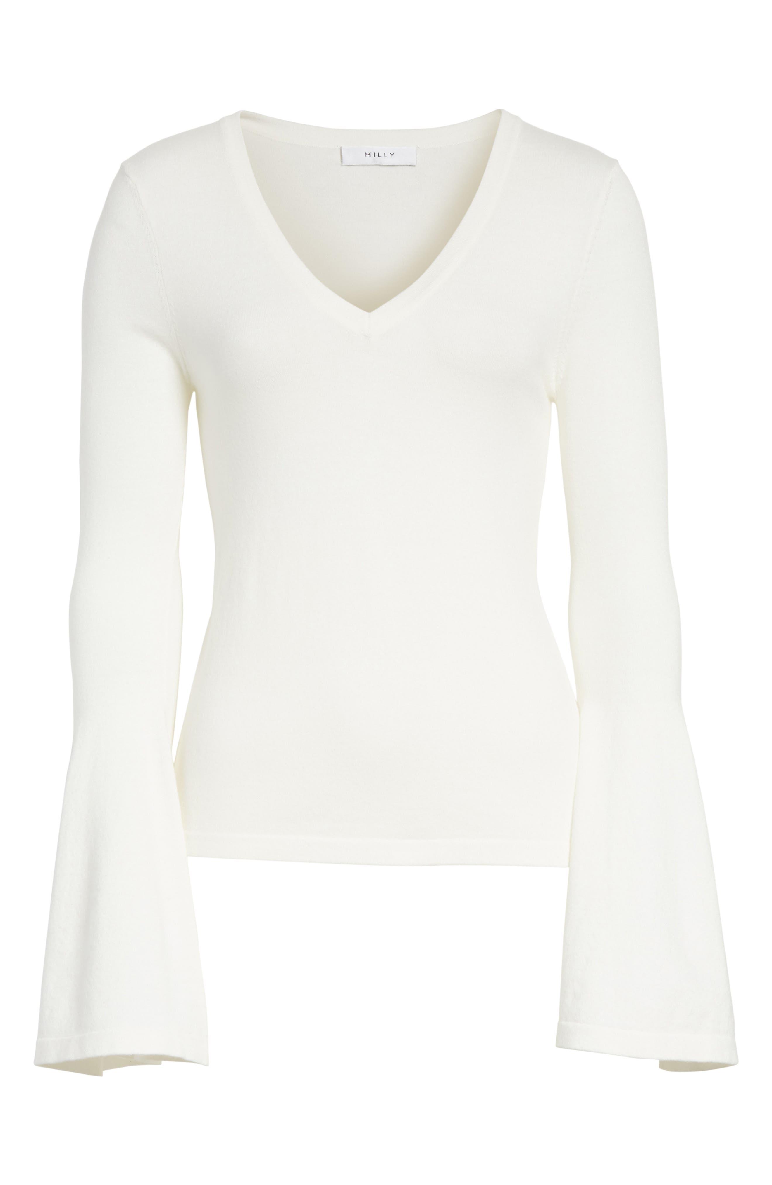 Bell Sleeve V-Neck Sweater,                             Alternate thumbnail 23, color,