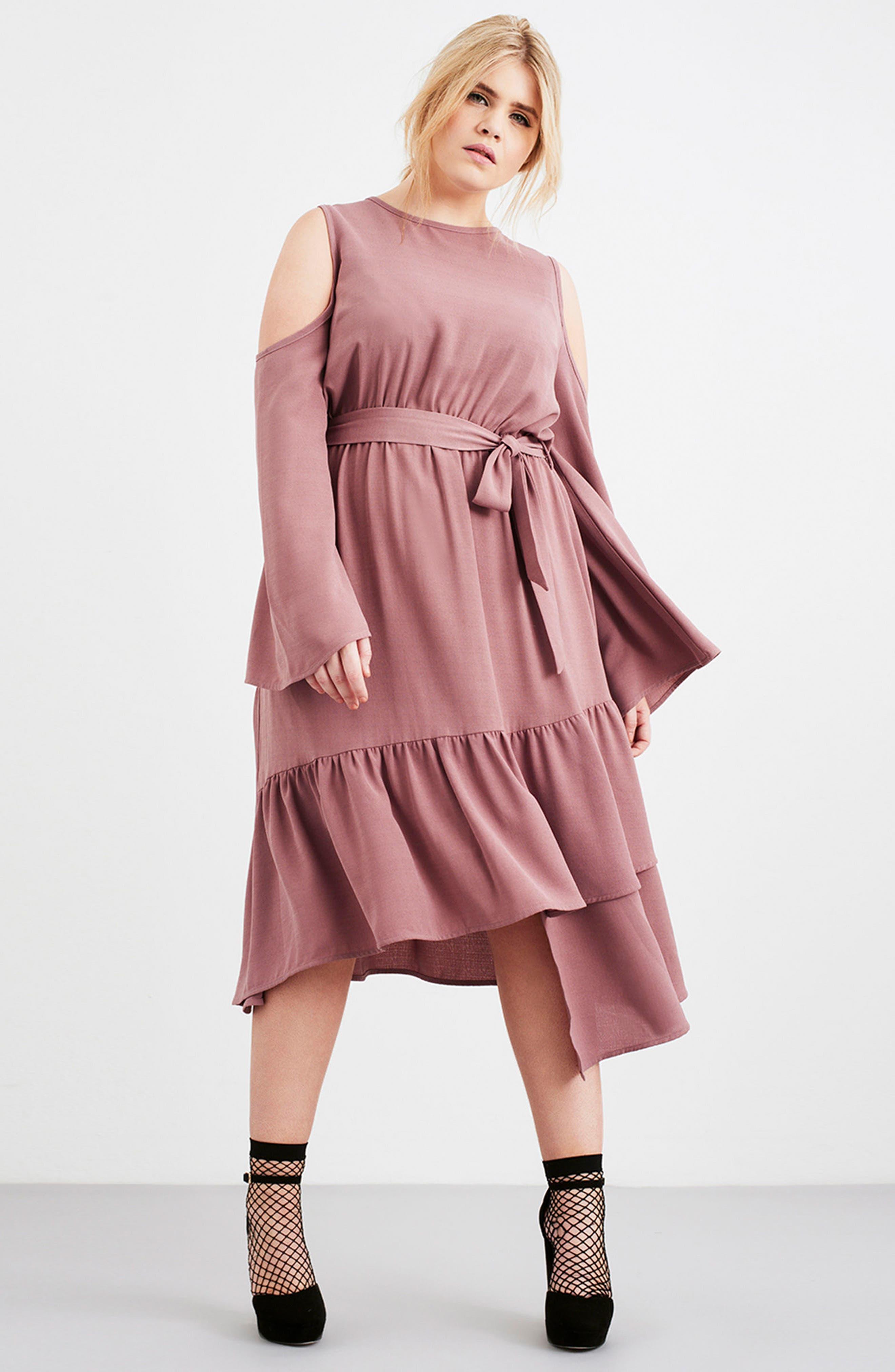 Cold Shoulder A-Line Dress,                             Alternate thumbnail 7, color,