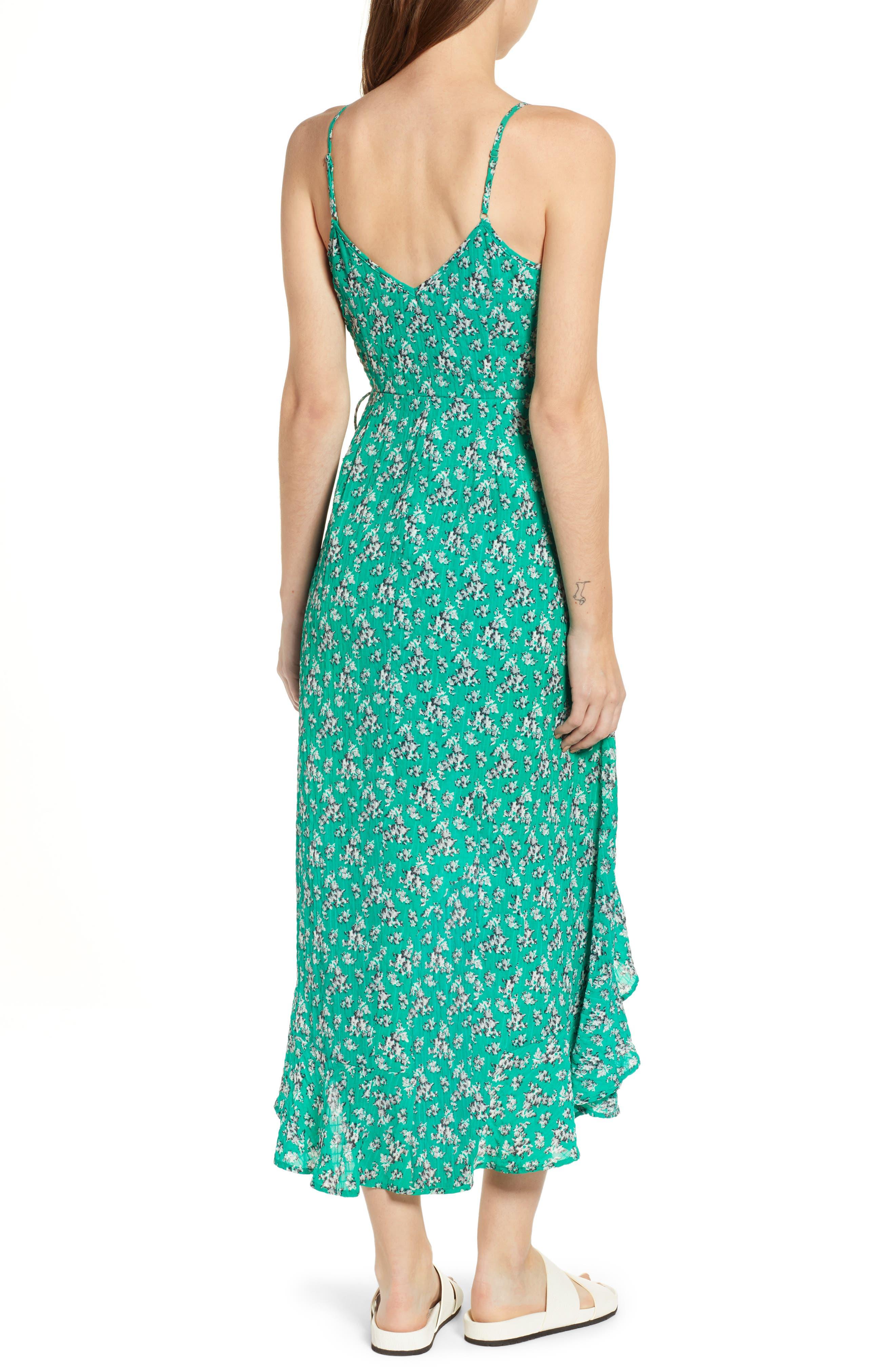 Adventurer Floral Print High/Low Dress,                             Alternate thumbnail 2, color,                             GREEN FLORAL