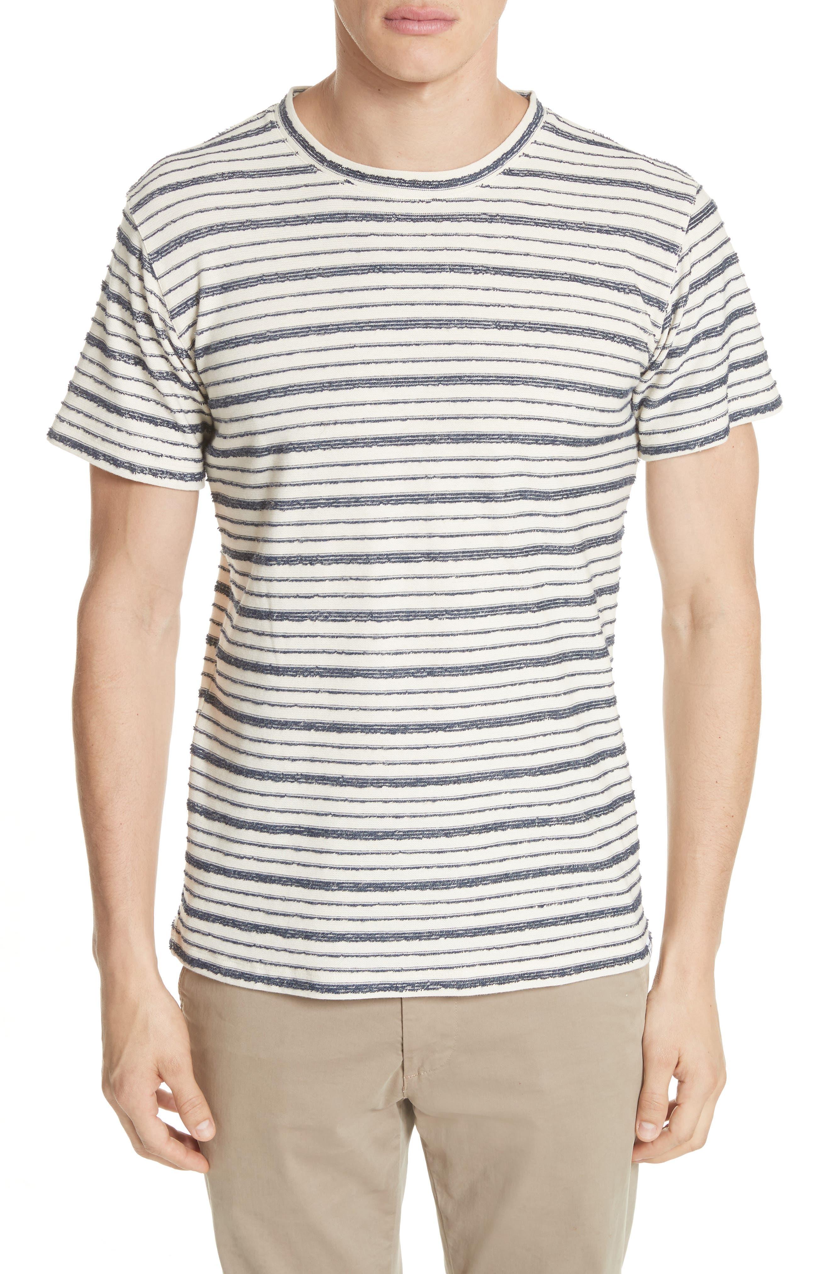 Niels Textured Stripe T-Shirt,                             Main thumbnail 1, color,                             DARK NAVY