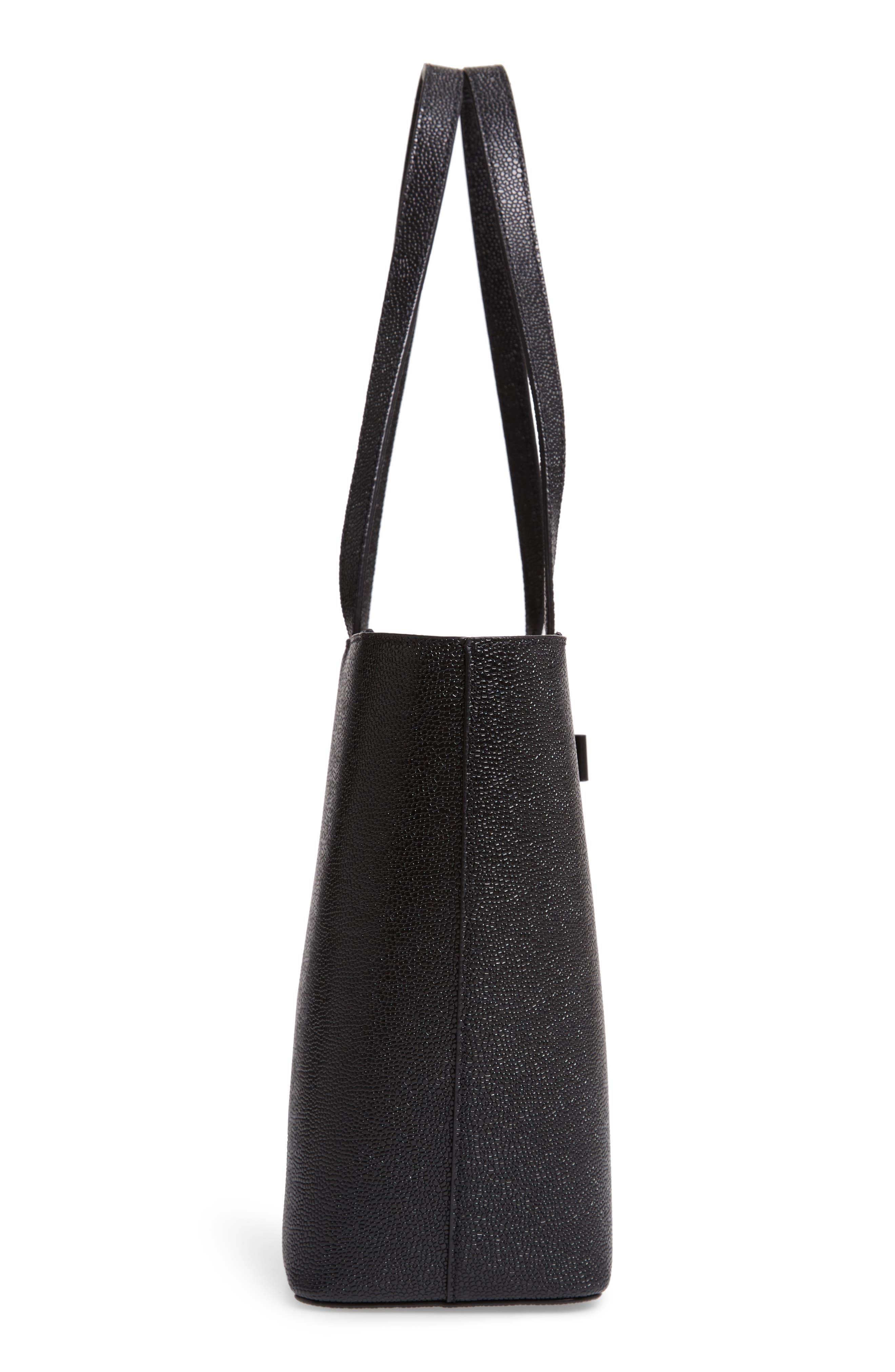 JJesica Leather Shopper,                             Alternate thumbnail 5, color,                             BLACK