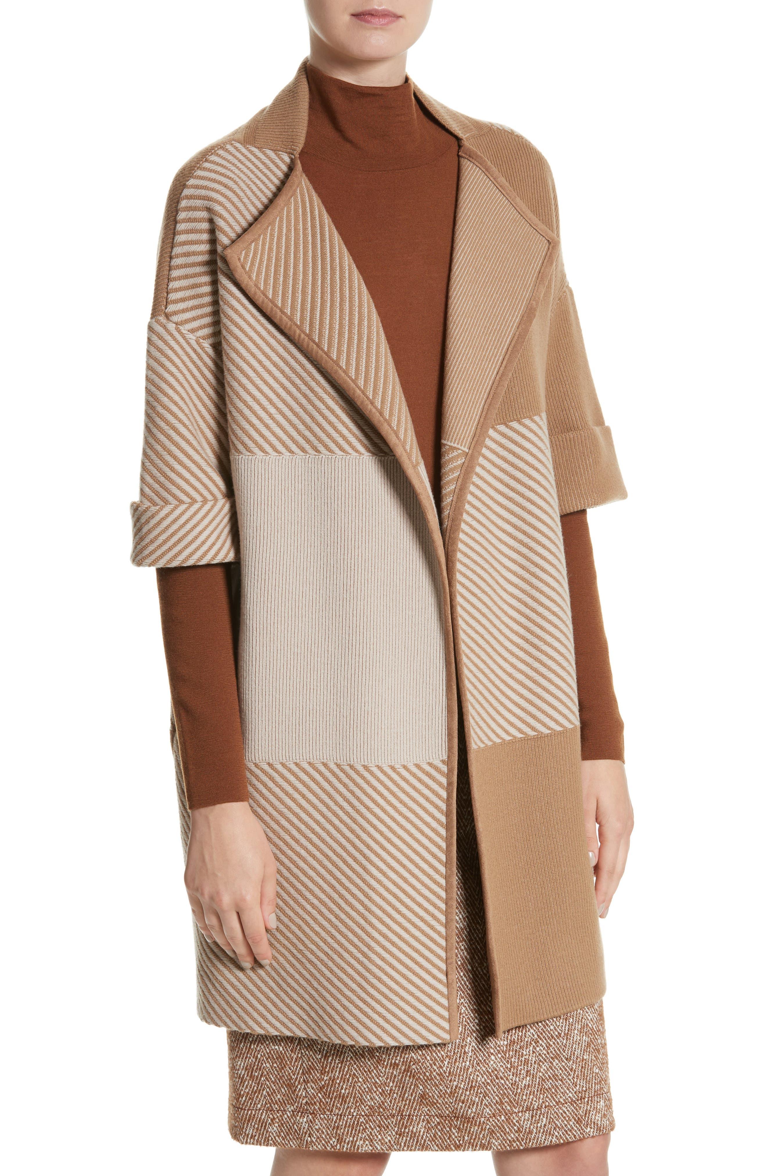 Flannel Bicolor Jacquard Coat,                             Alternate thumbnail 4, color,                             200
