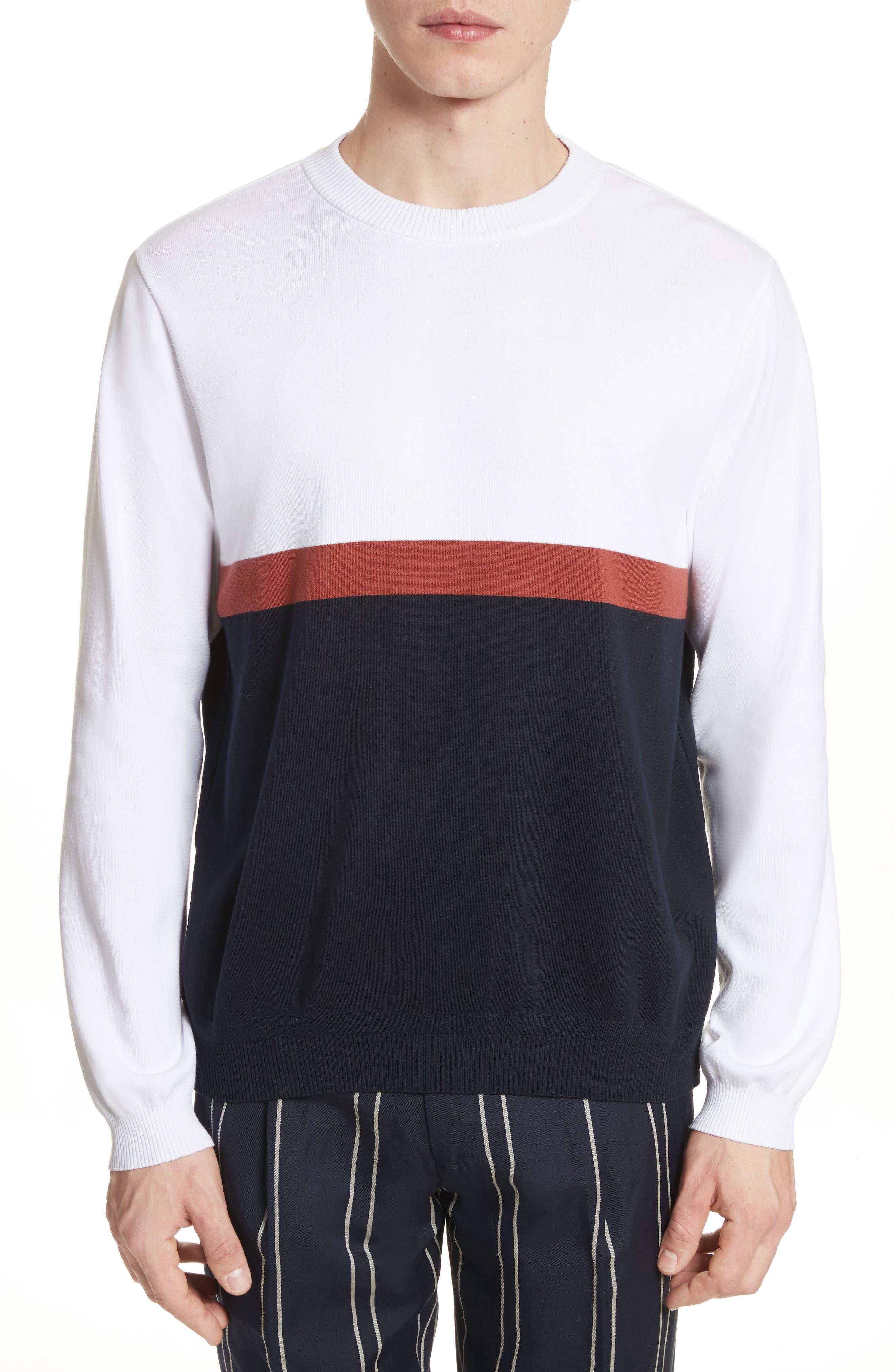 Colorblock Crewneck Sweater,                             Main thumbnail 1, color,                             100