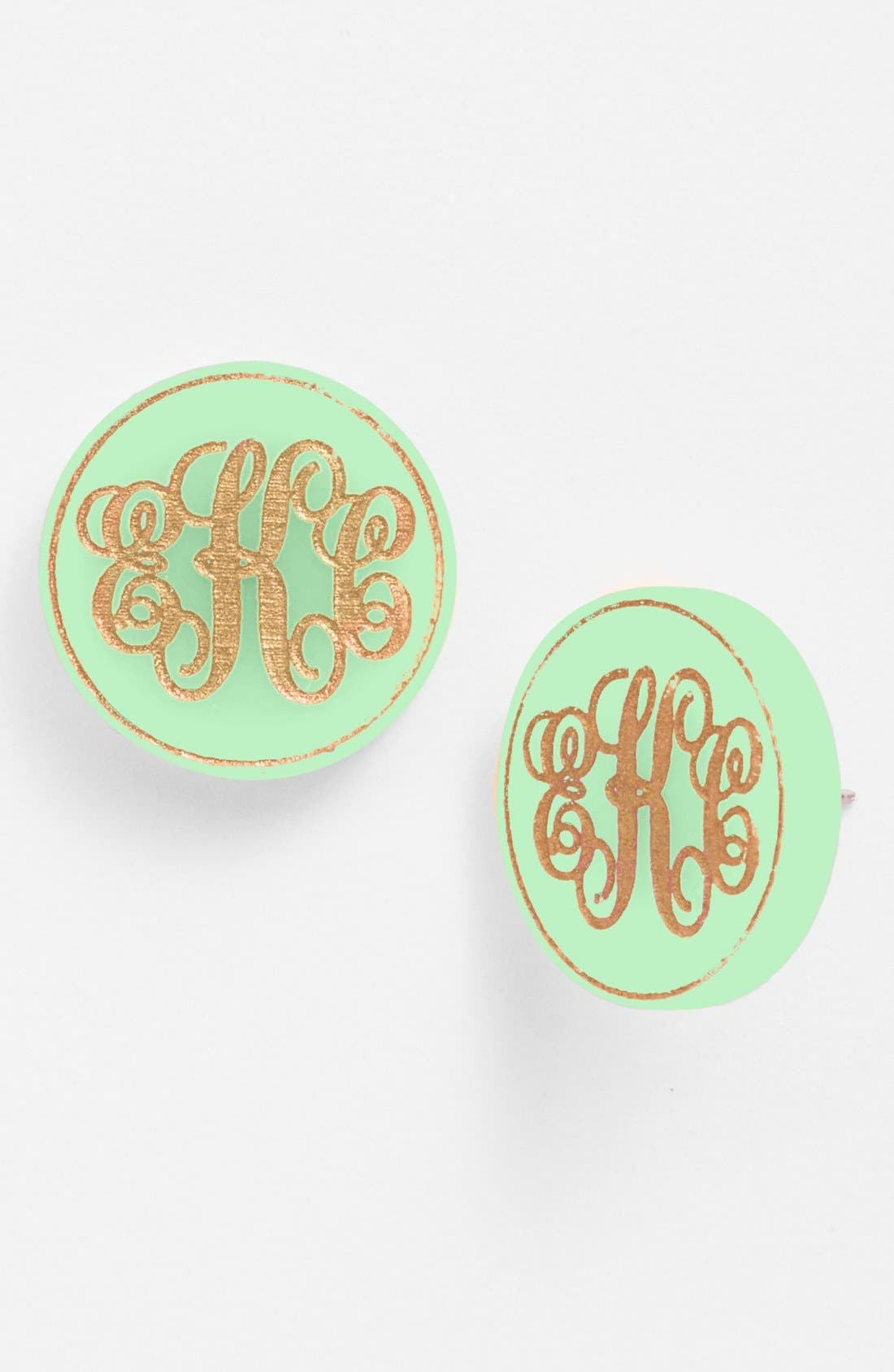 'Chelsea' Medium Personalized Monogram Stud Earrings,                             Main thumbnail 1, color,                             MINT/ GOLD