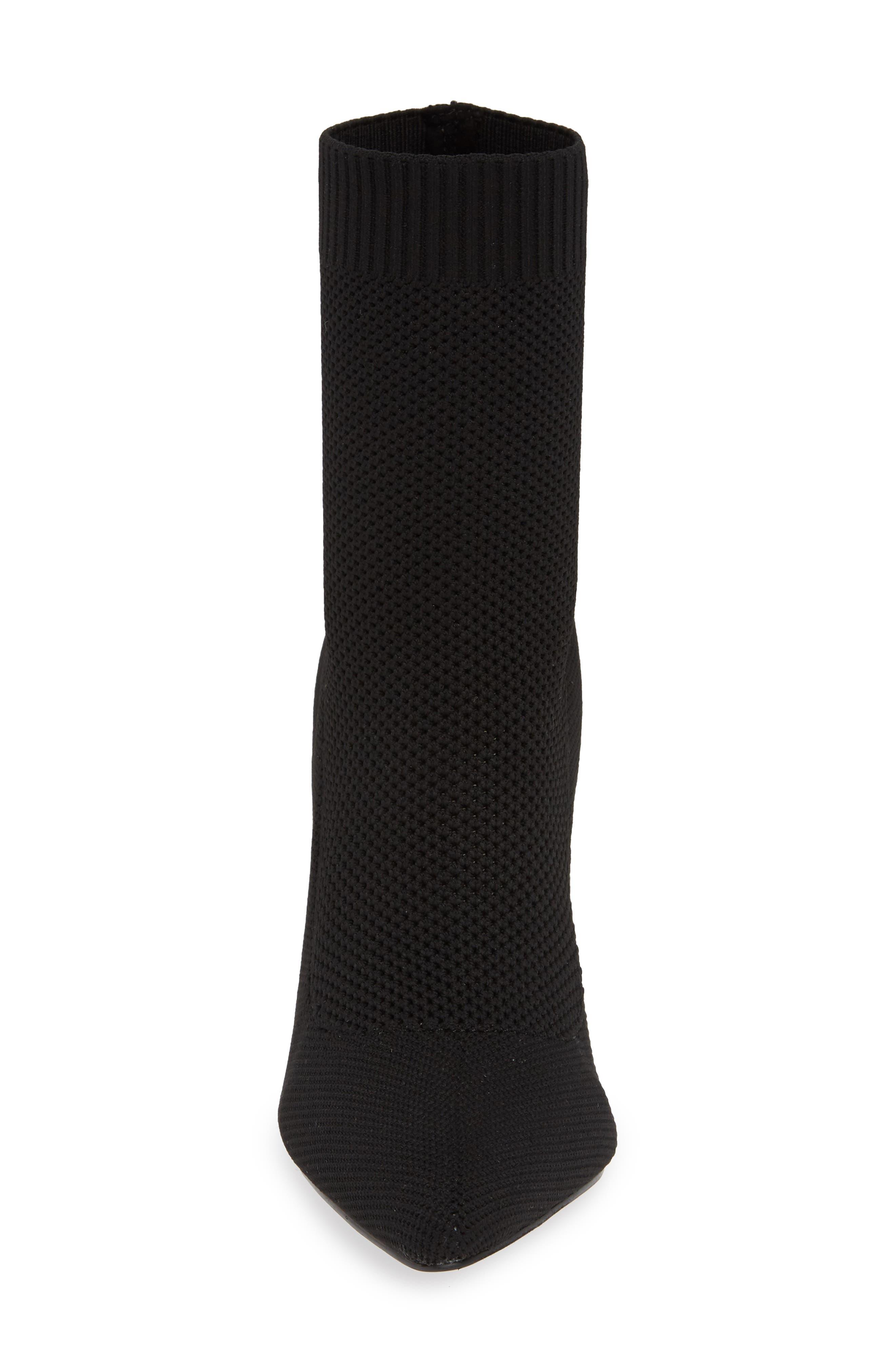 Puzzle Sock Bootie,                             Alternate thumbnail 4, color,                             BLACK STRETCH KNIT