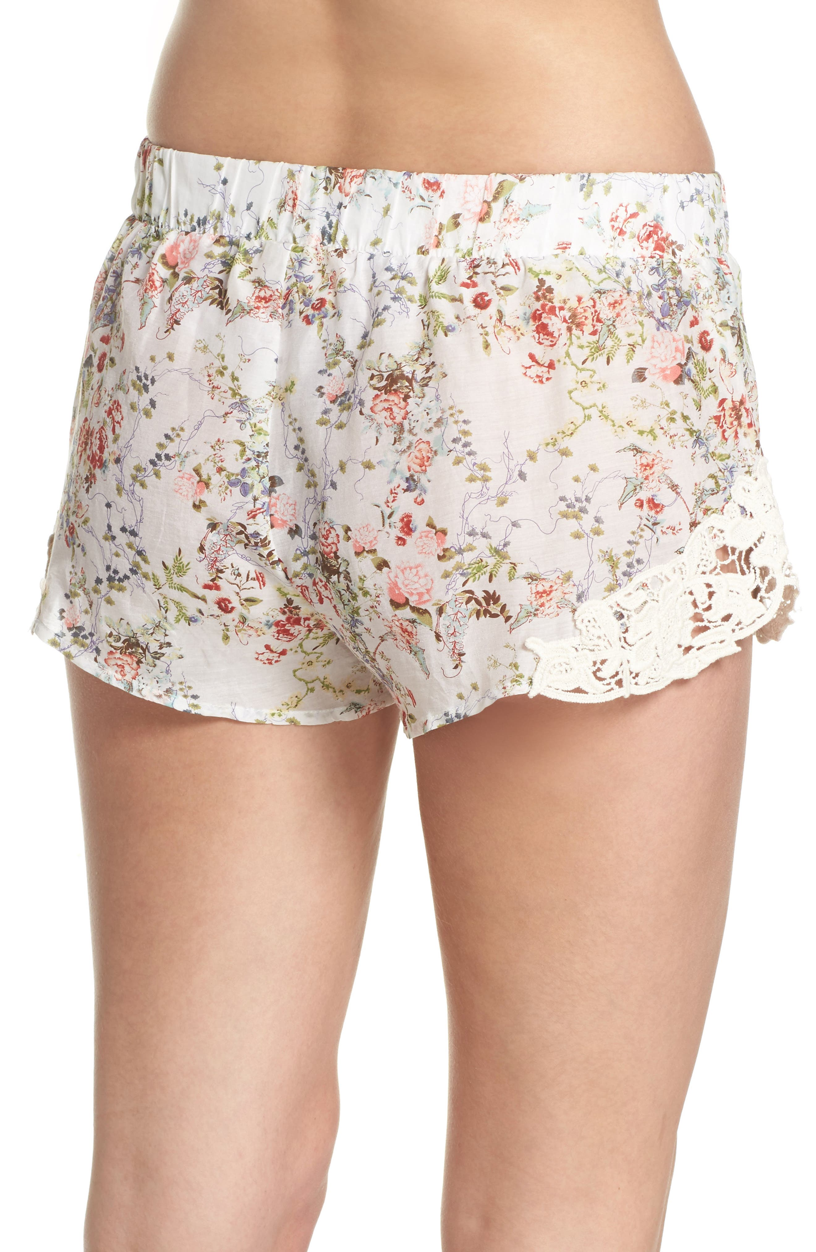 Yolly Floral Pajama Shorts,                             Alternate thumbnail 2, color,                             IVORY FLORAL