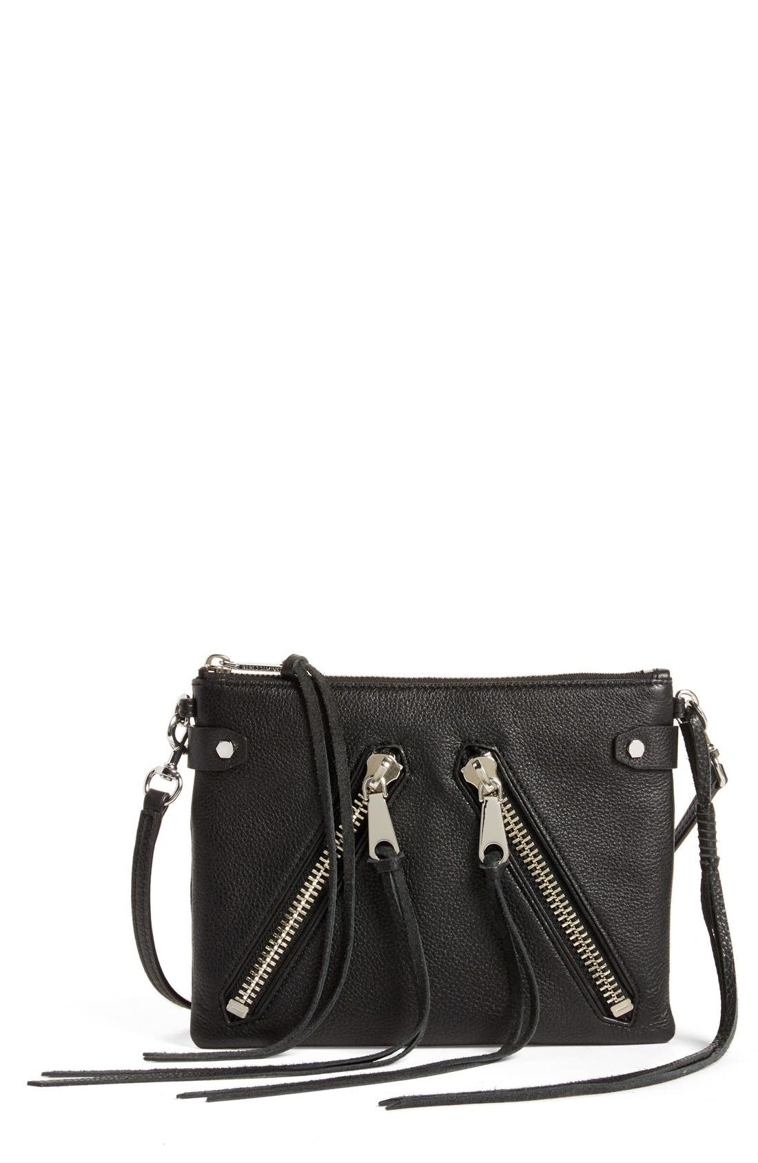 'Moto Jon' Leather Crossbody Bag,                             Main thumbnail 1, color,                             001