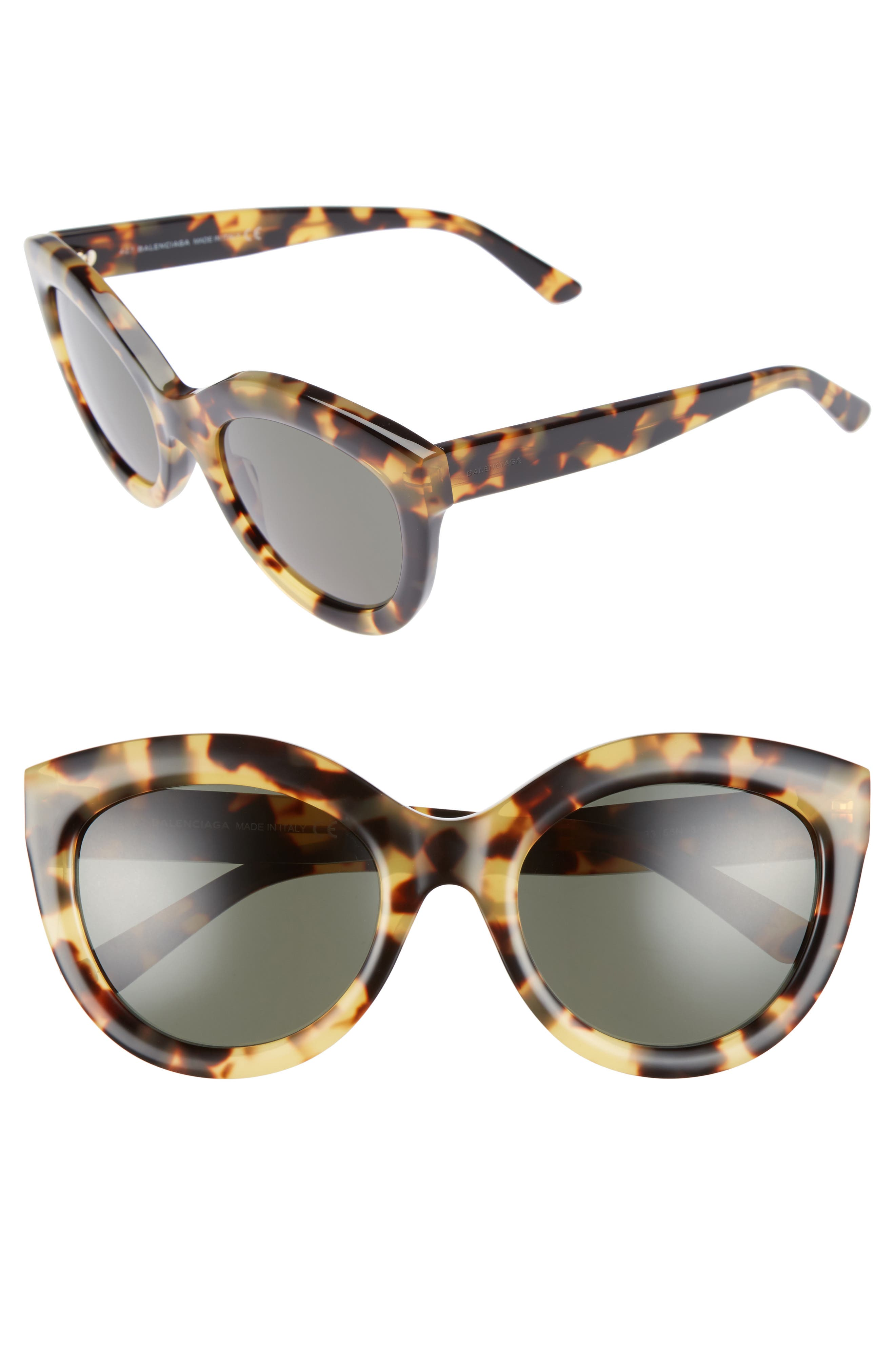54mm Cat Eye Sunglasses,                             Main thumbnail 1, color,                             VINTAGE HAVANA/ GREEN LENS